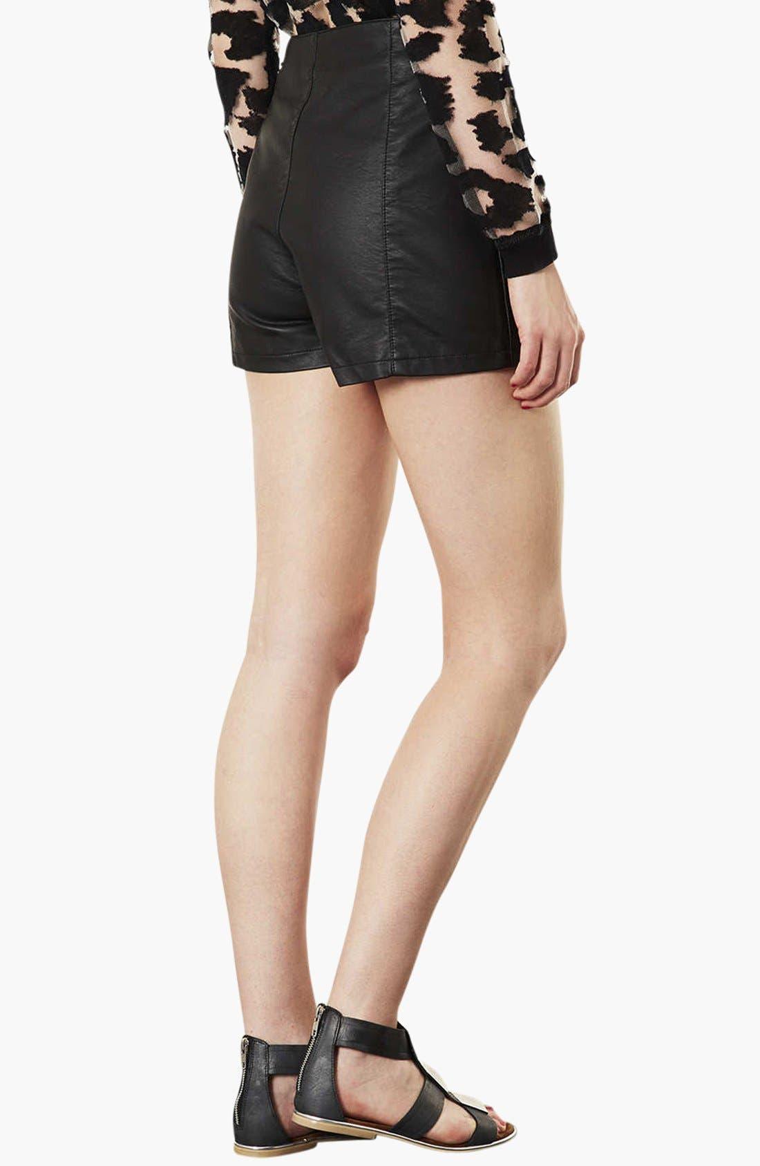 Alternate Image 2  - Topshop 'Lola' High Waist Faux Leather Shorts