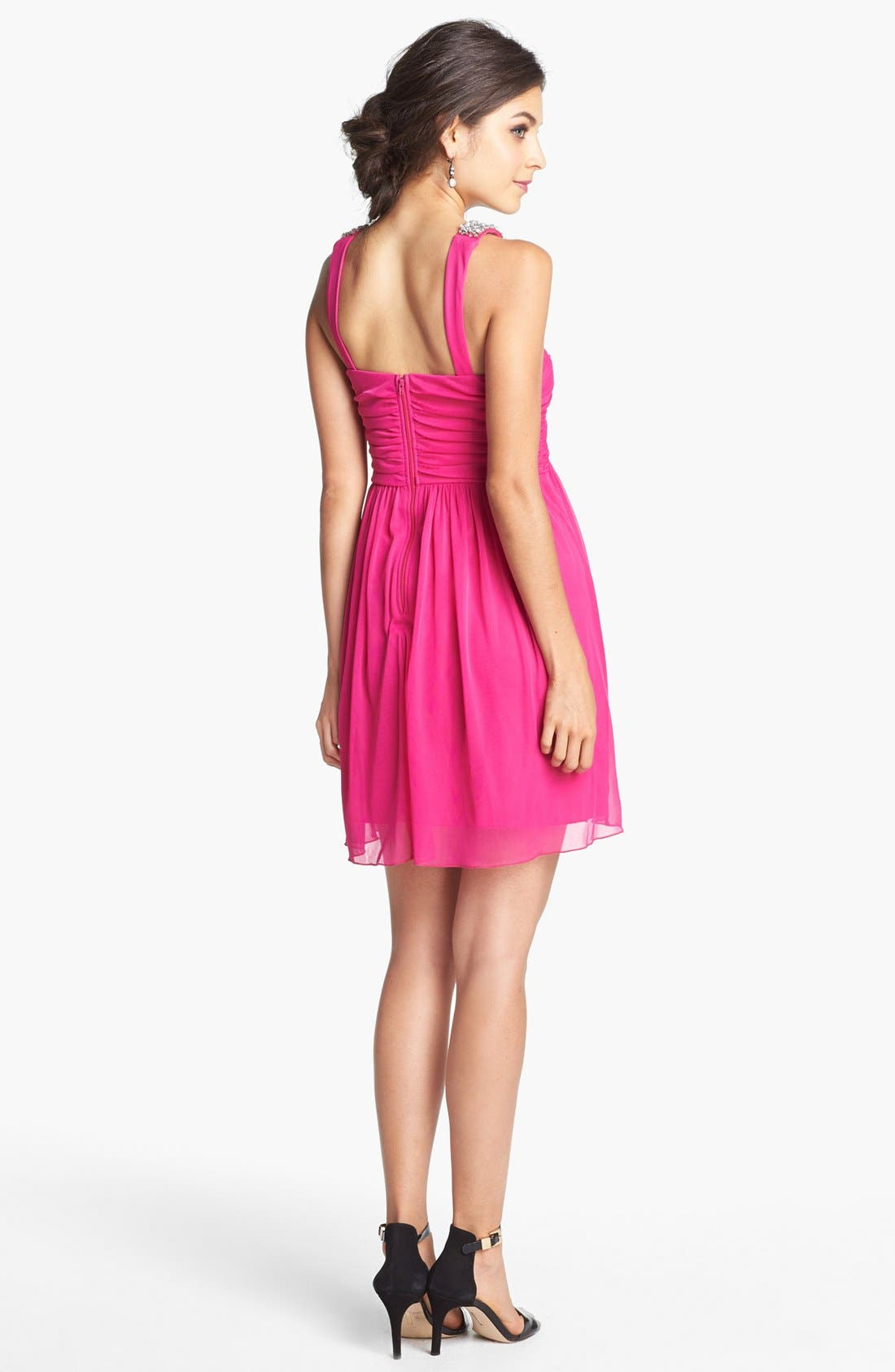 Alternate Image 2  - Way-In Embellished Pleat Bodice Dress (Juniors)