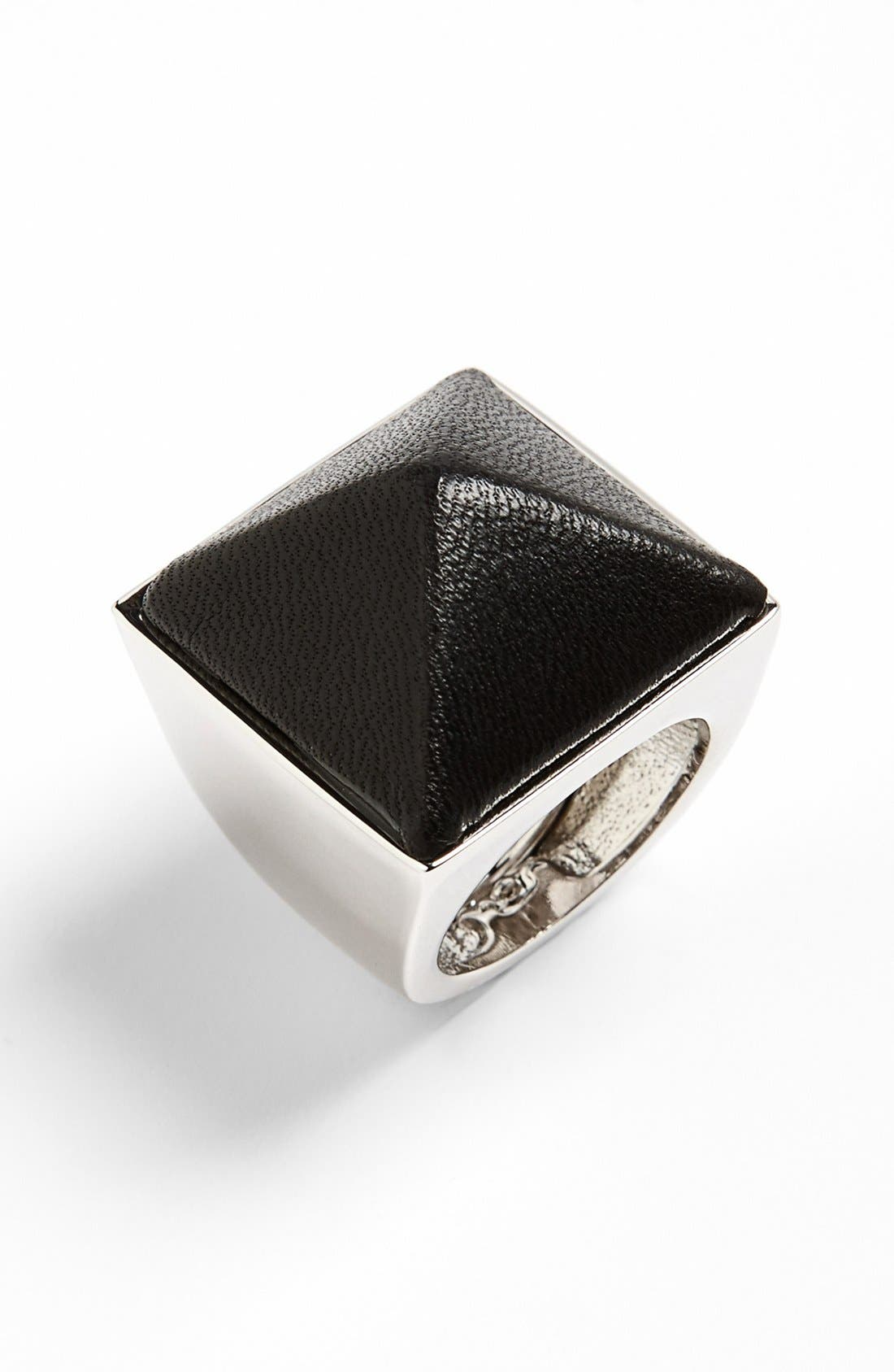 Alternate Image 1 Selected - Vince Camuto 'Blow Up Pyramid' Leather Stud Statement Ring