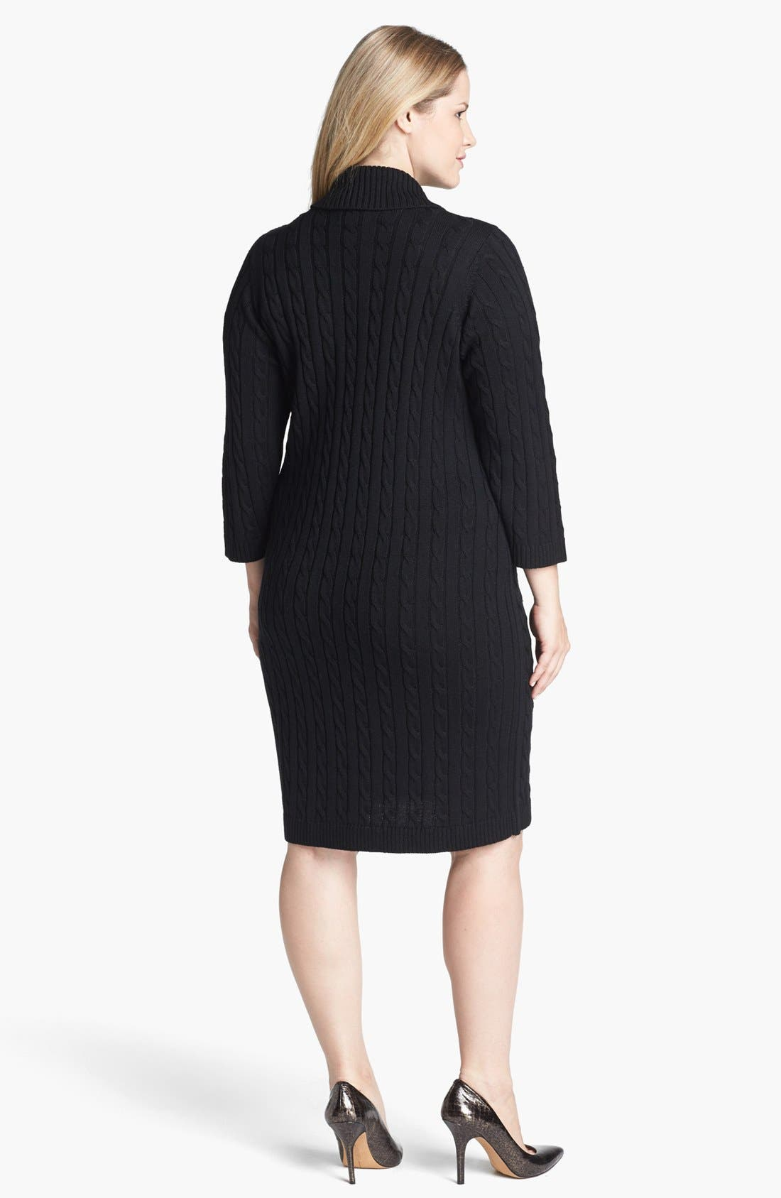 Alternate Image 2  - Calvin Klein Faux Wrap Sweater Dress (Plus Size)