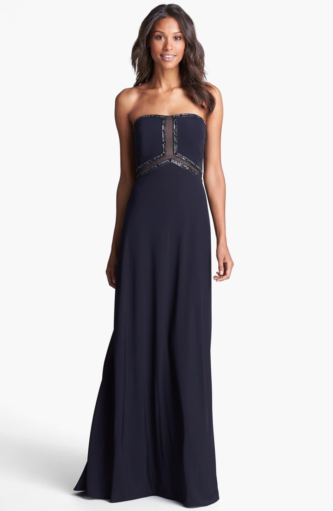 Alternate Image 1 Selected - Aidan Mattox Embellished Mesh Inset Dress
