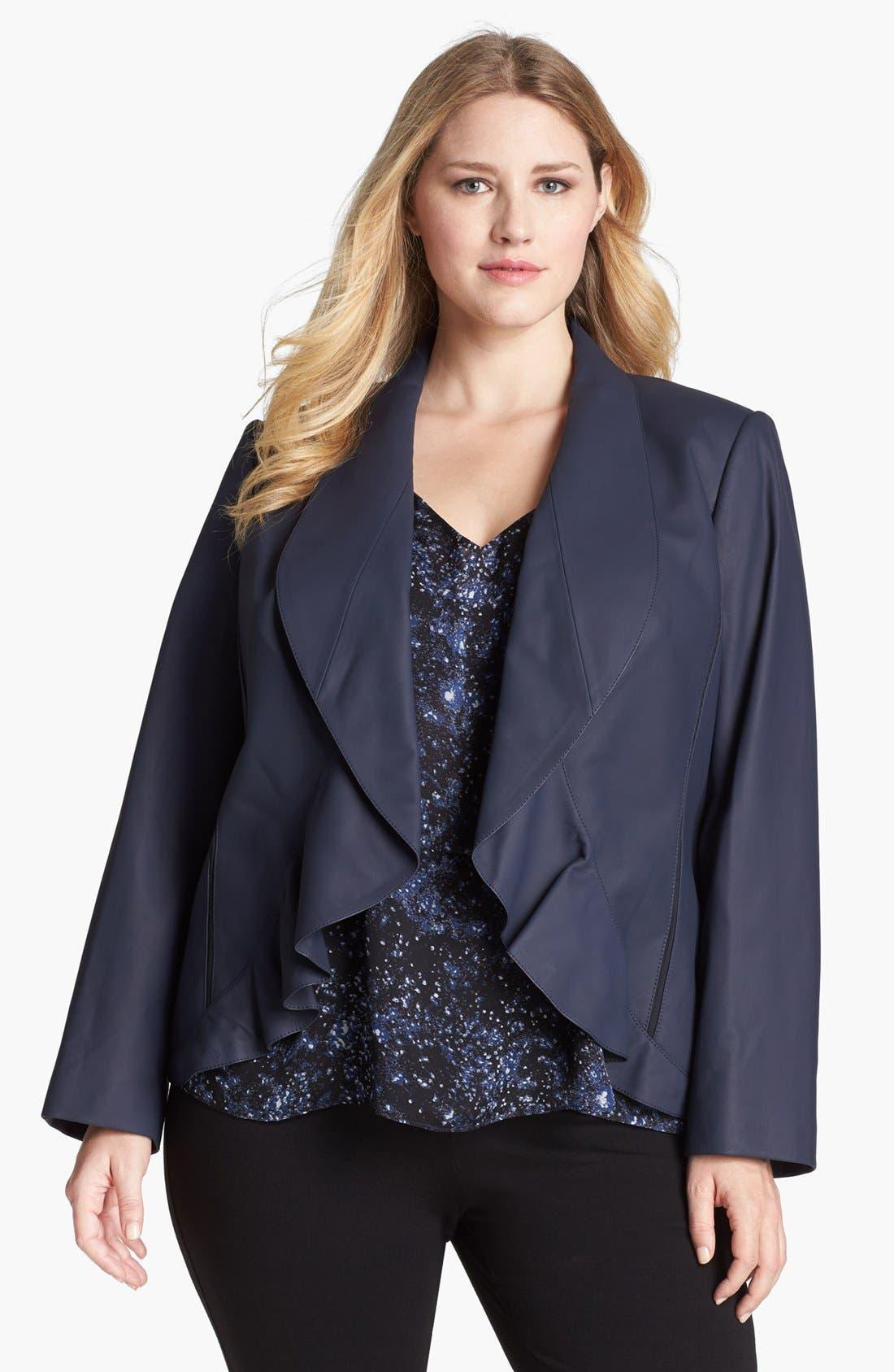 Alternate Image 1 Selected - Lafayette 148 New York 'Trula' Lambskin Leather Jacket (Plus Size)