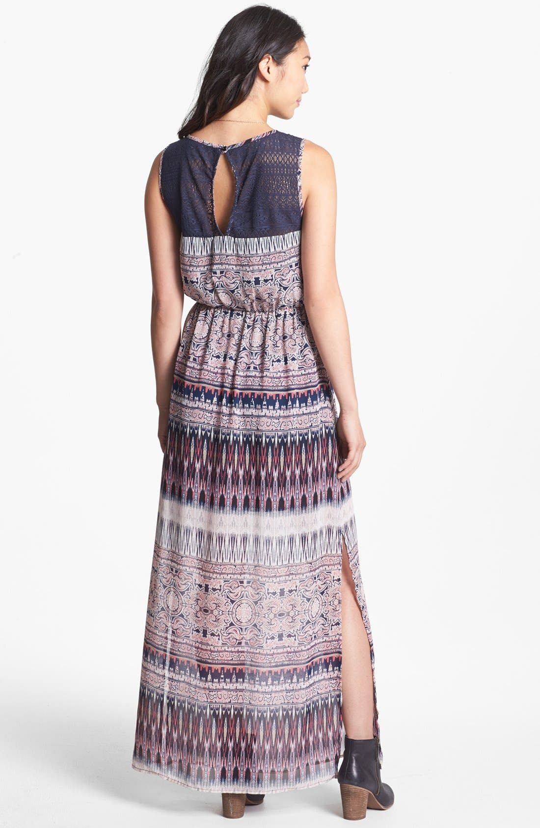 Alternate Image 2  - Trixxi Lace Yoke Print Maxi Dress (Juniors)