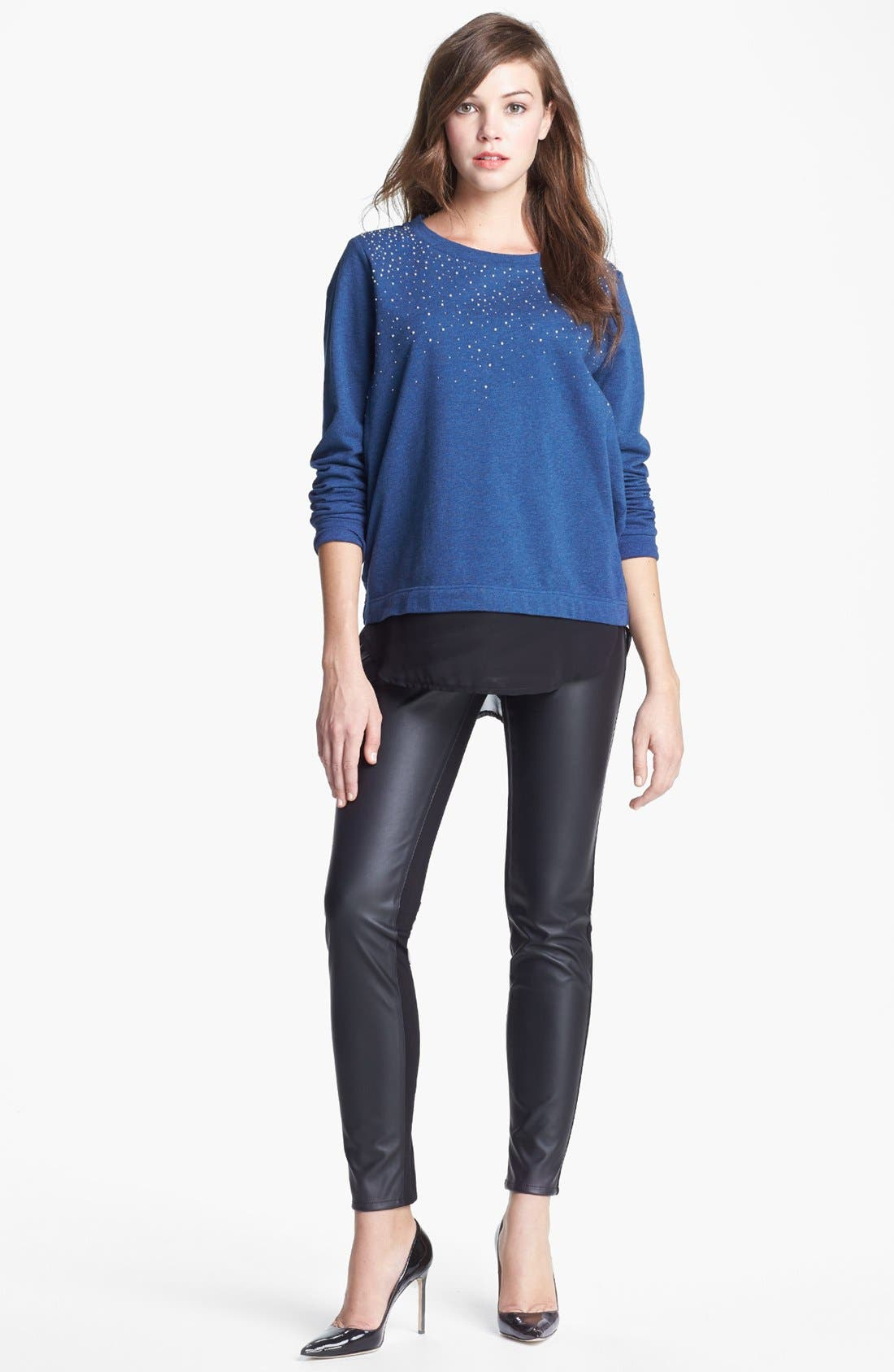 Alternate Image 1 Selected - Two by Vince Camuto Embellished Chiffon Shirttail Sweatshirt