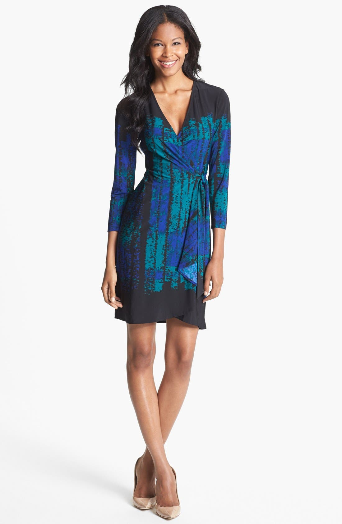 Main Image - BCBGMAXAZRIA 'Adele' Print Jersey Wrap Dress