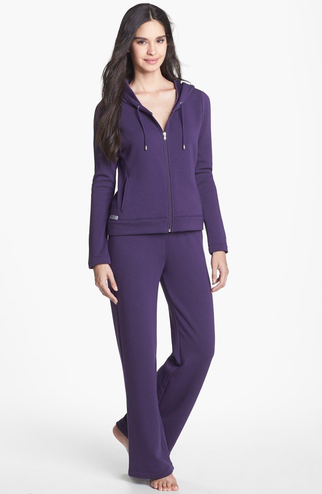 'Collins' Double Knit Pants,                             Alternate thumbnail 3, color,                             Purple Violet