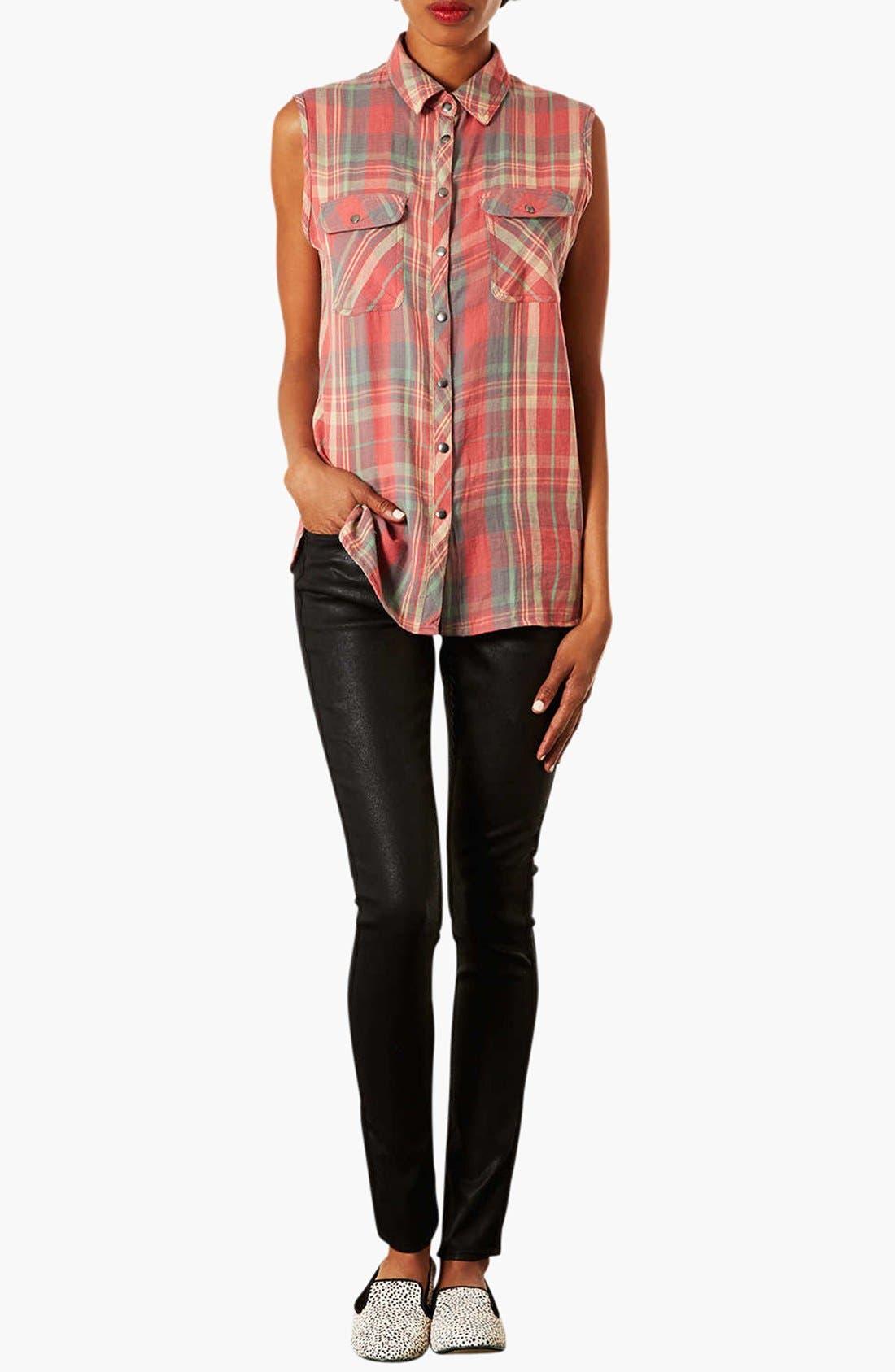 Alternate Image 3  - Topshop Moto 'Leigh' Coated Skinny Jeans (Black)