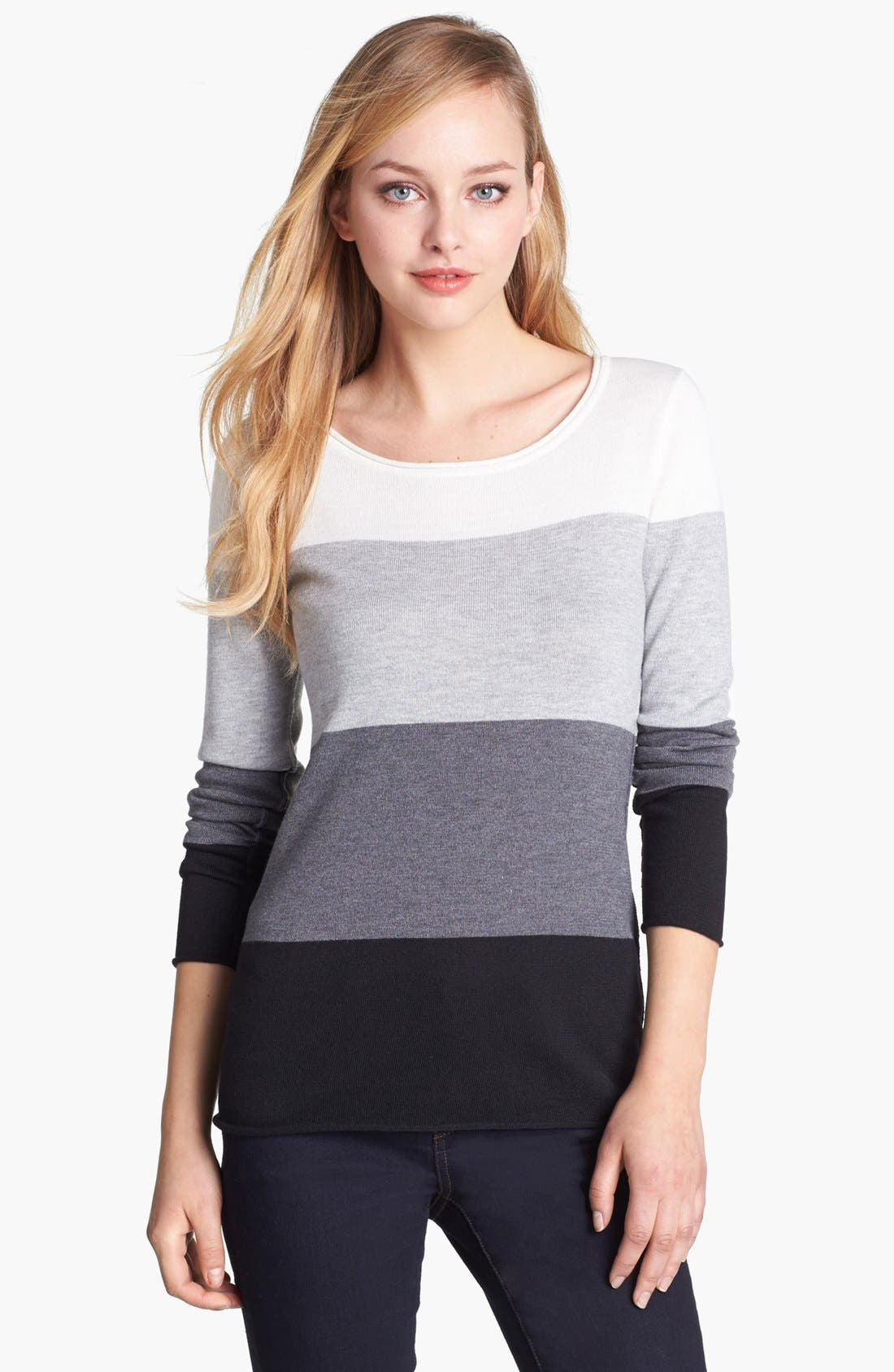 Alternate Image 1 Selected - Vince Camuto Colorblock Stripe Sweater