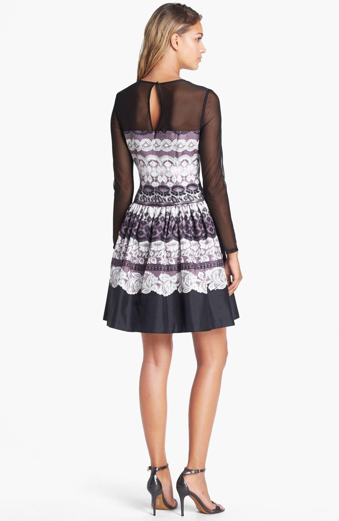 Alternate Image 2  - Eliza J Sheer Yoke Print Fit & Flare Dress