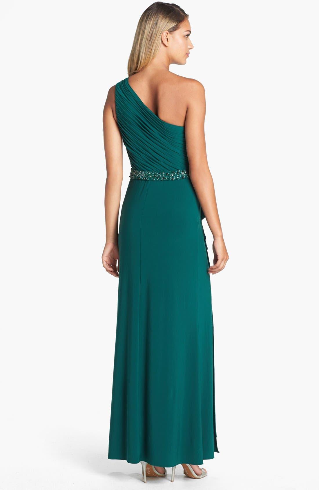 Alternate Image 2  - JS Boutique Beaded Waist One-Shoulder Jersey Gown