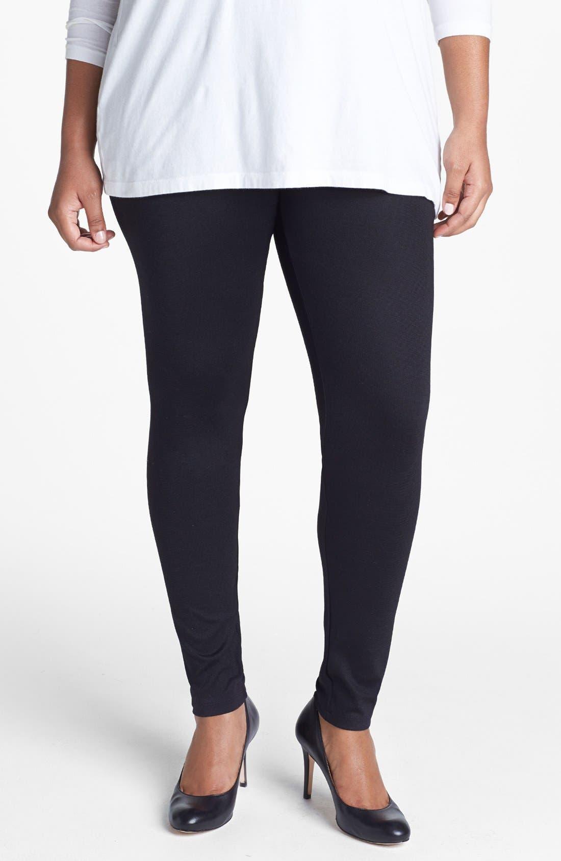 Alternate Image 1 Selected - Sejour Ponte Knit Leggings (Plus Size)