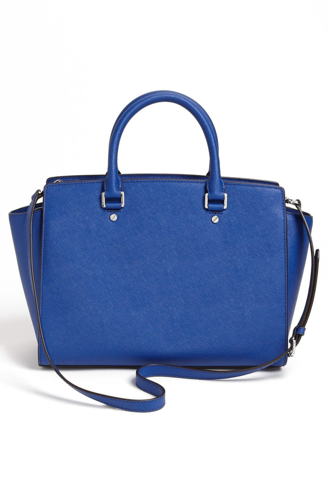 'Large Selma' Zip-Top Satchel,                             Alternate thumbnail 3, color,                             Sapphire