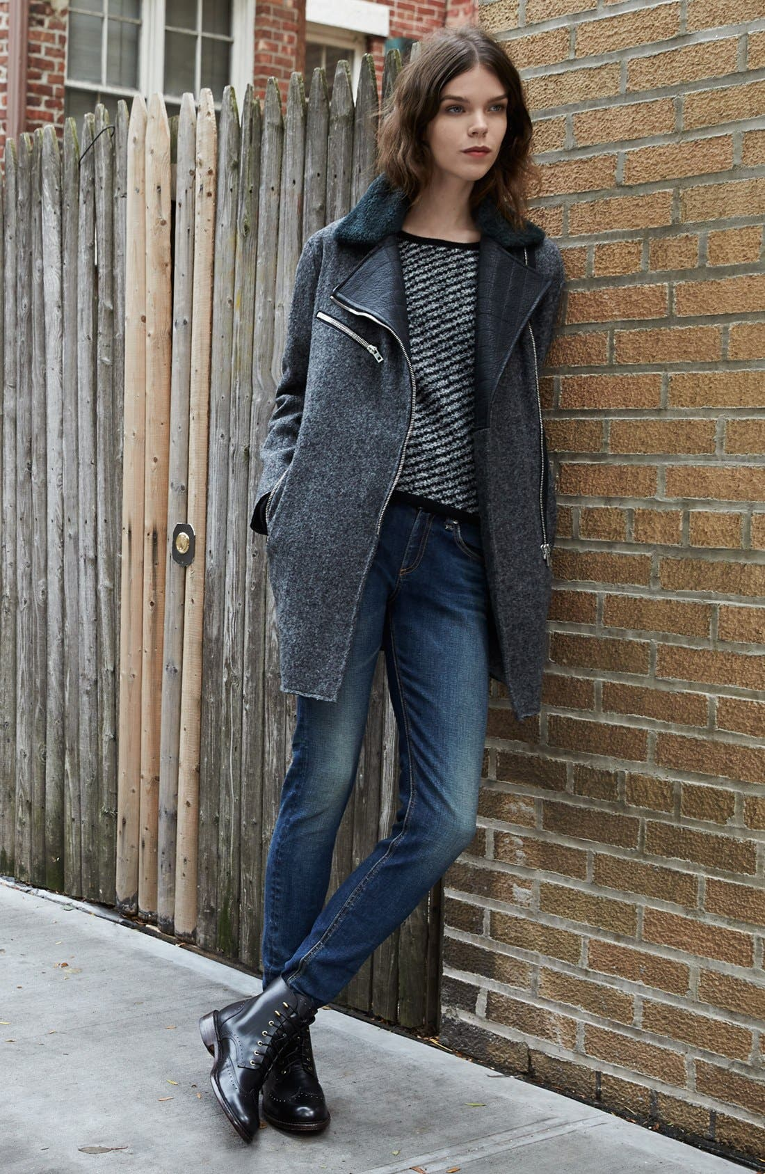 Alternate Image 5  - rag & bone 'Turner' Genuine Shearling & Leather Collar Coat