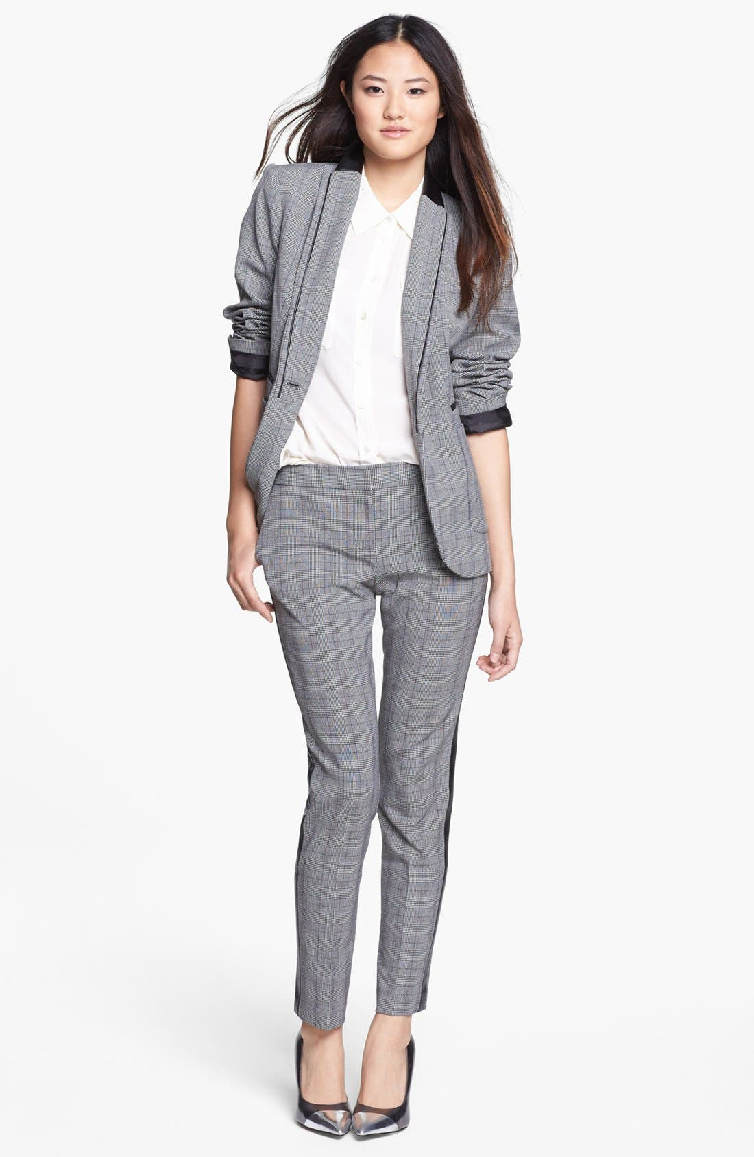 Alternate Image 5  - Vince Camuto Faux Leather Stripe Glen Plaid Trousers (Online Exclusive)