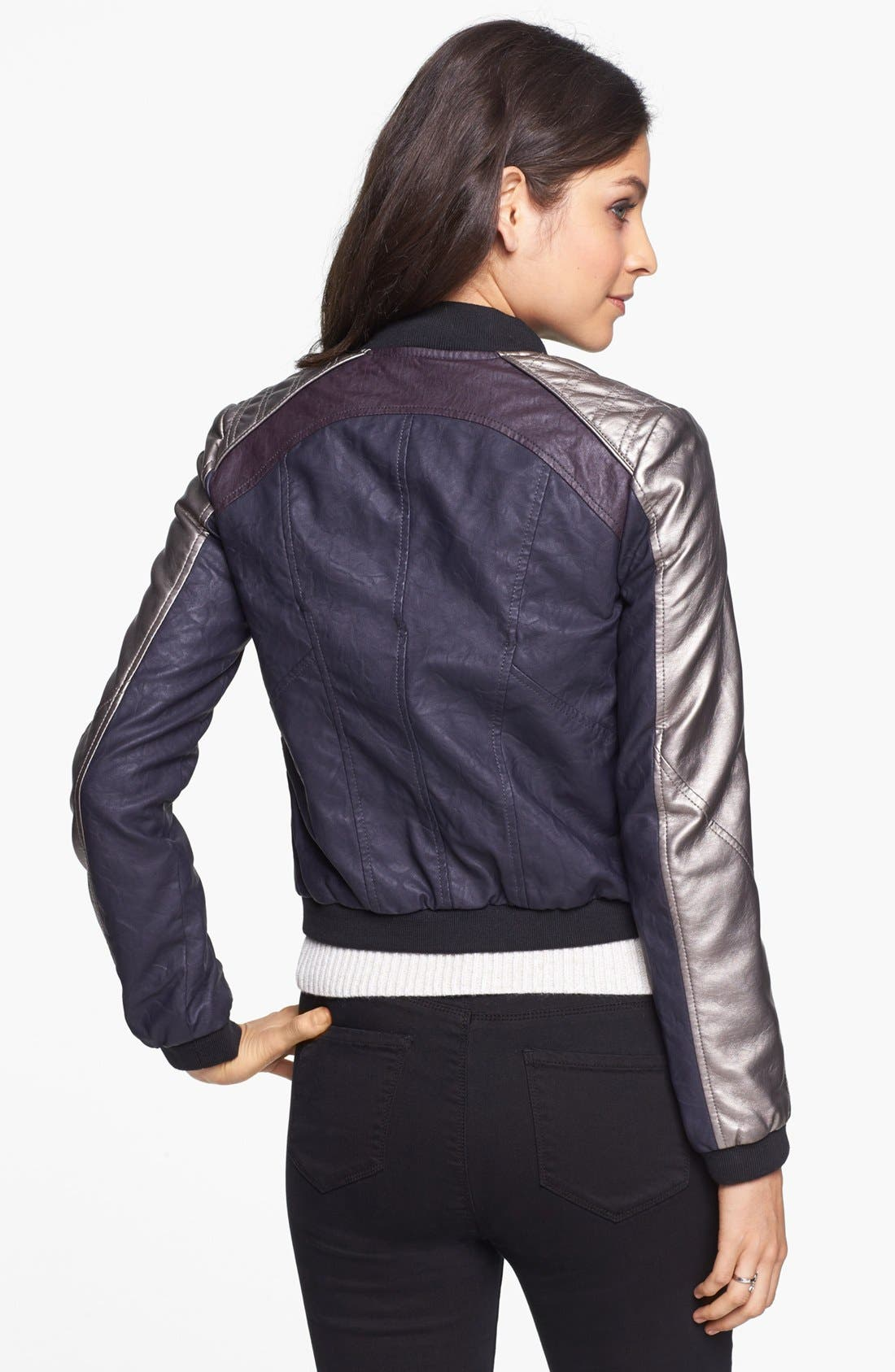Alternate Image 2  - Collection B Multicolor Faux Leather Bomber Jacket (Juniors)