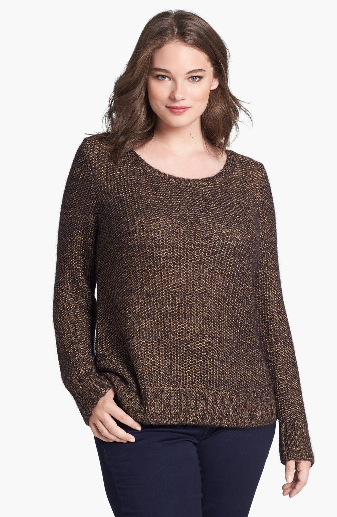 Alternate Image 1 Selected - Eileen Fisher Metallic Sweater (Plus Size)