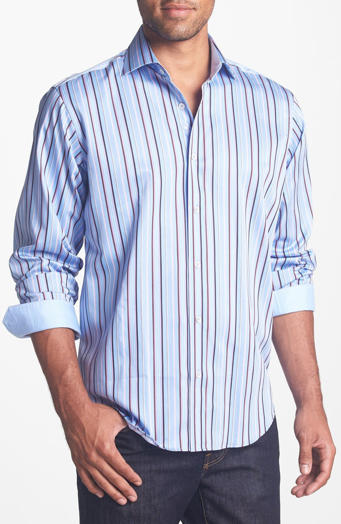 Alternate Image 1 Selected - Bugatchi Classic Fit Stripe Sport Shirt