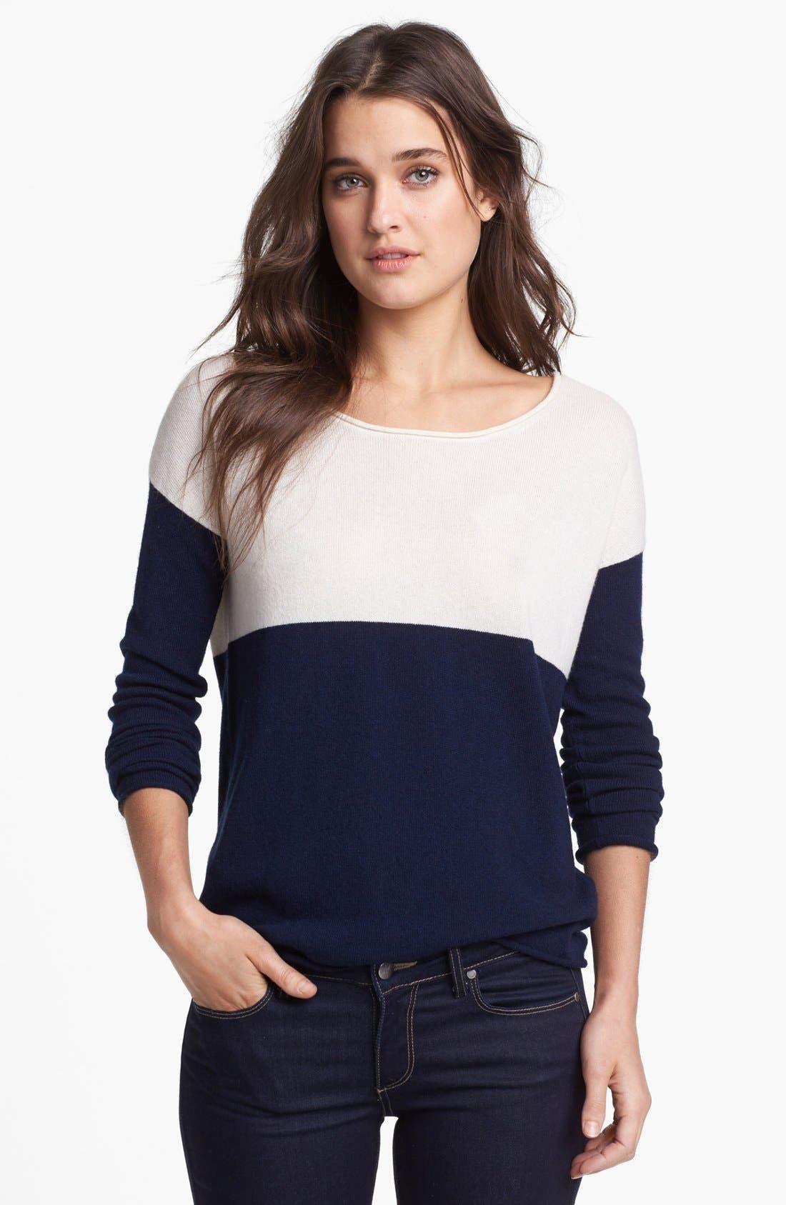 Colorblock Sweater,                             Main thumbnail 1, color,                             Navy/ Cream