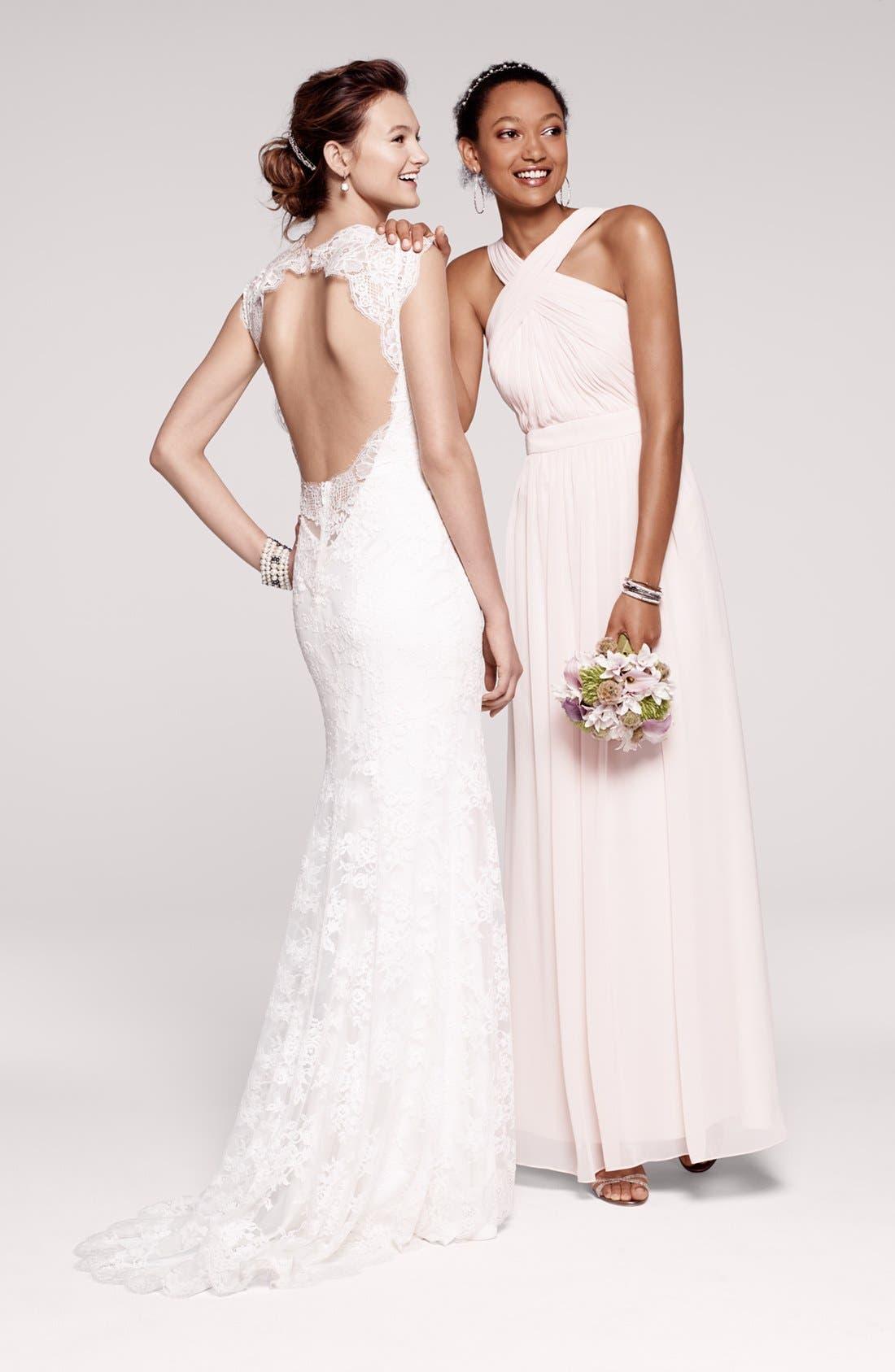 Alternate Image 5  - Monique Lhuillier Bridesmaids Crisscross Chiffon Gown (Nordstrom Exclusive)