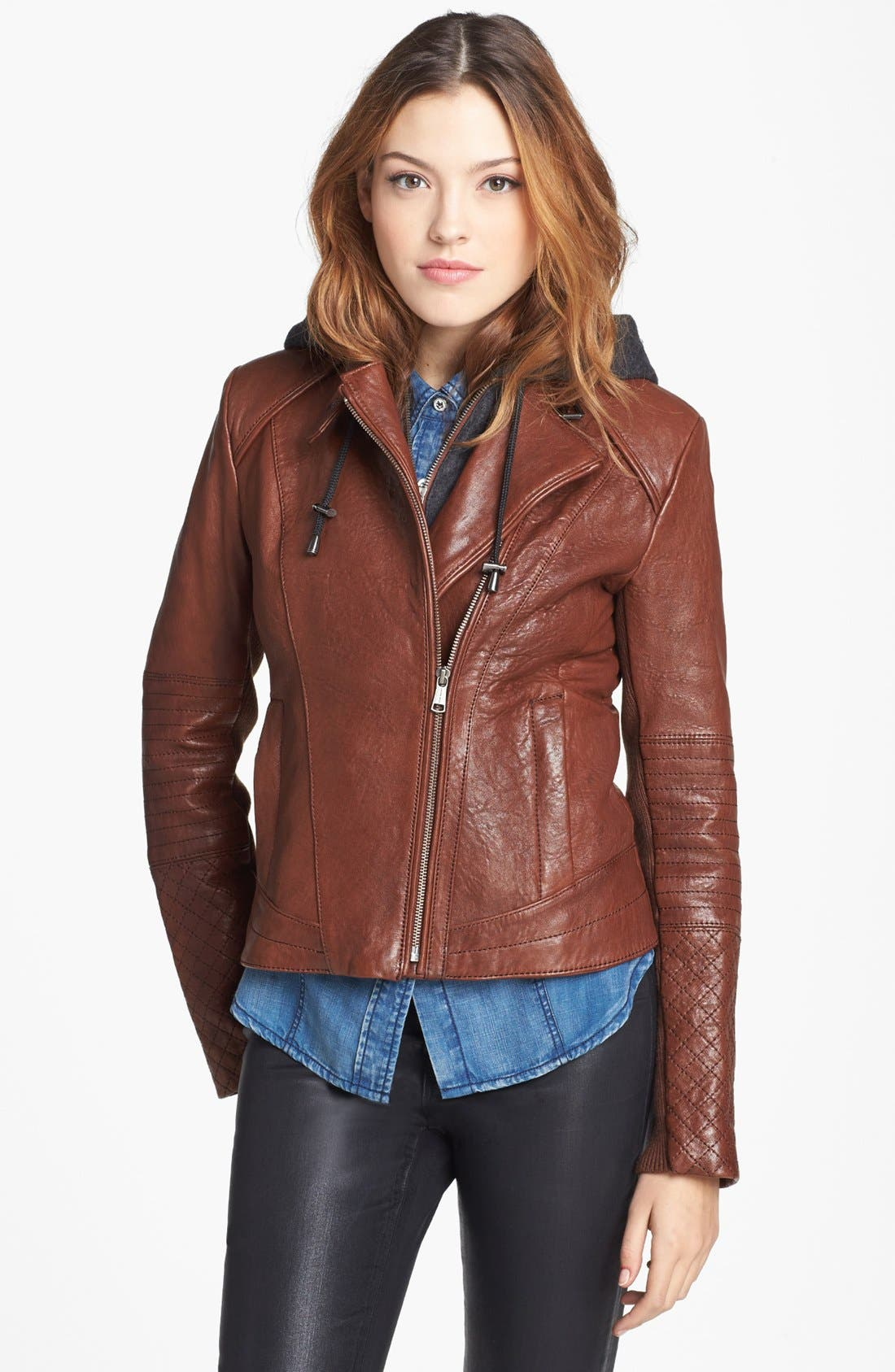 Main Image - Andrew Marc 'Shay' Hooded Insert Leather Jacket