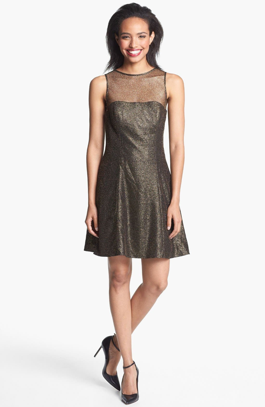 Main Image - Aidan by Aidan Mattox Metallic Skater Dress