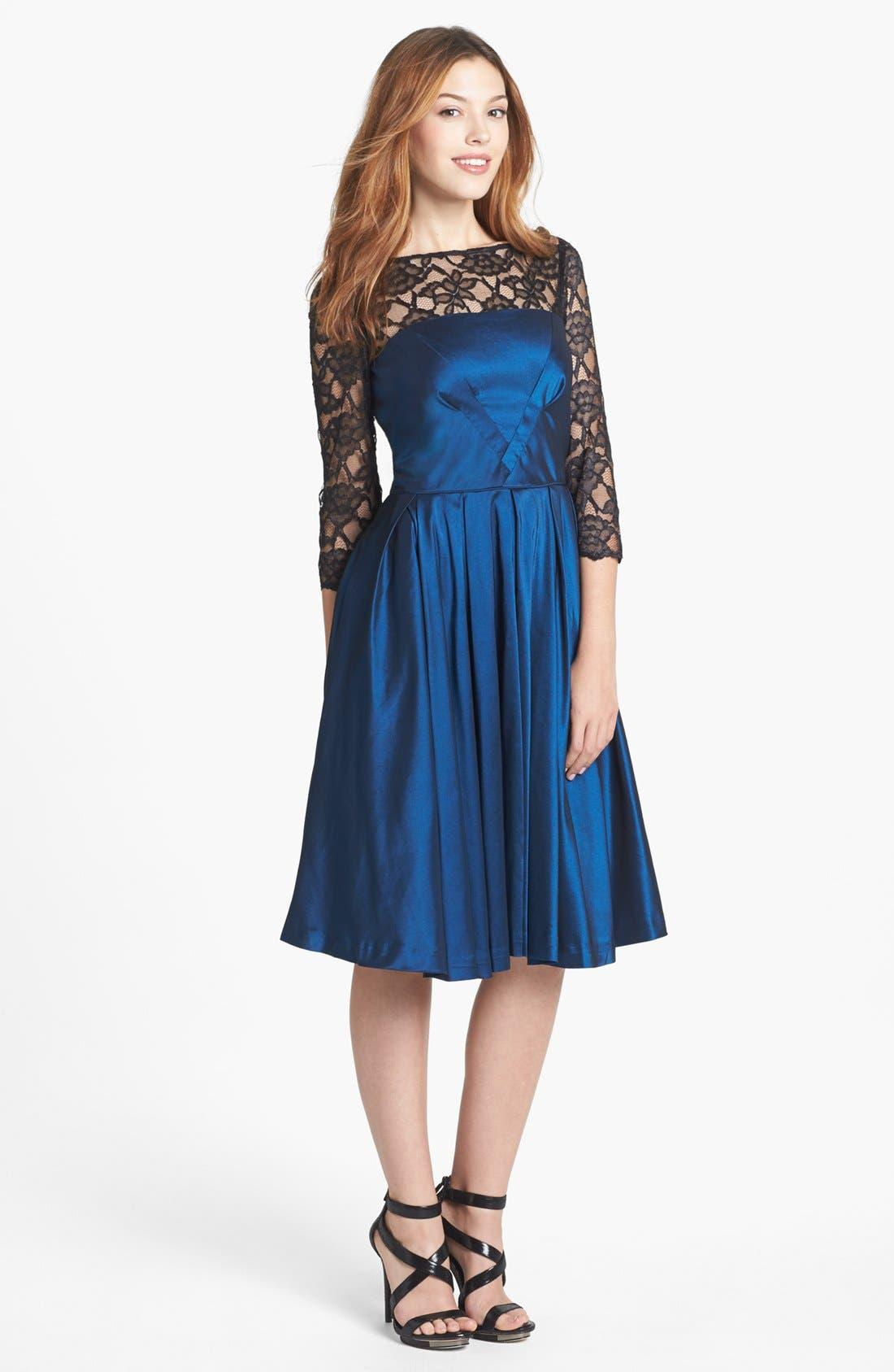Alternate Image 1 Selected - Maggy London Lace Yoke Taffeta Fit & Flare Dress