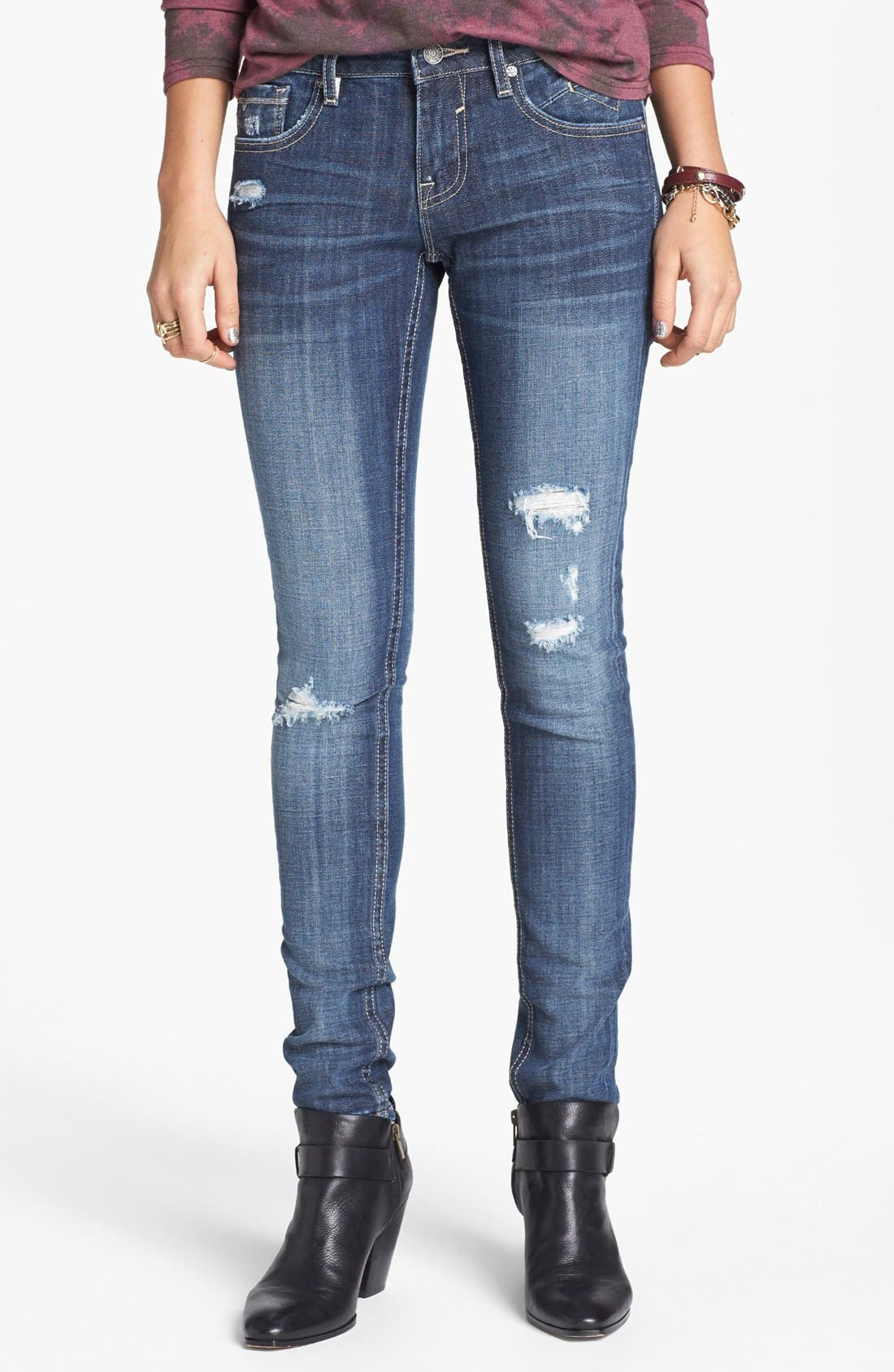 Destroyed Skinny Jeans,                             Main thumbnail 1, color,                             Medium Wash