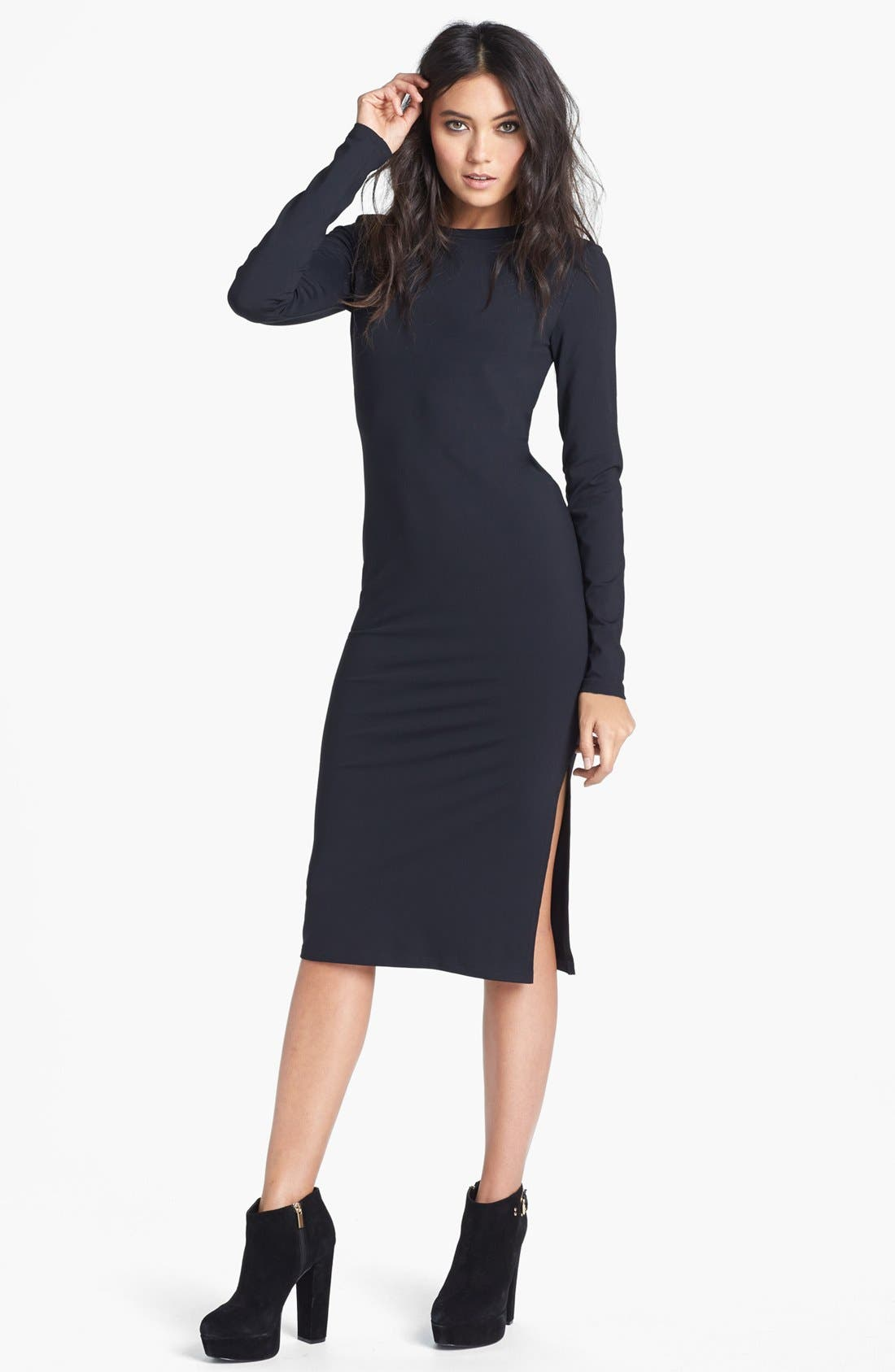 Alternate Image 1 Selected - Leith Long Sleeve Knit Midi Dress
