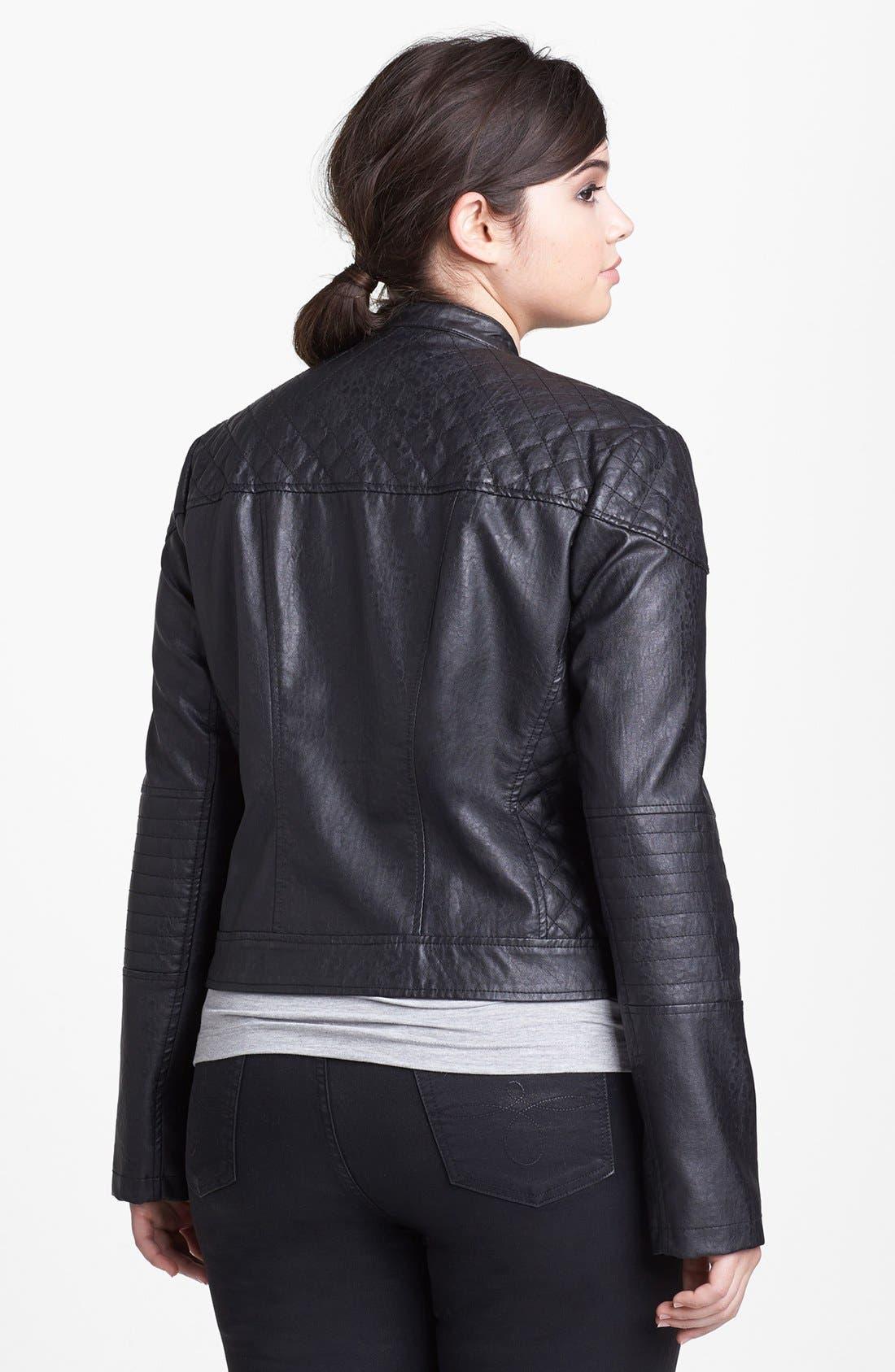 Alternate Image 2  - Bernardo Faux Leather Scuba Jacket (Plus Size)