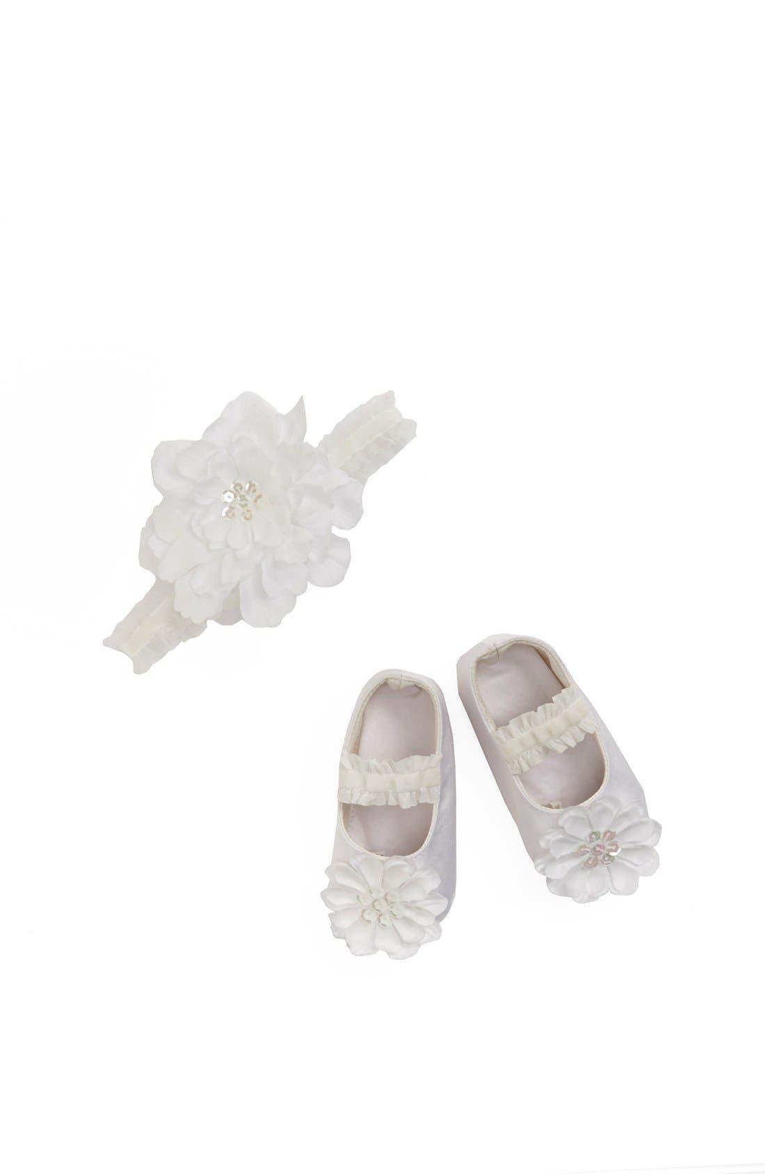 Main Image - PLH Bows & Laces Headband & Crib Shoes (Baby)