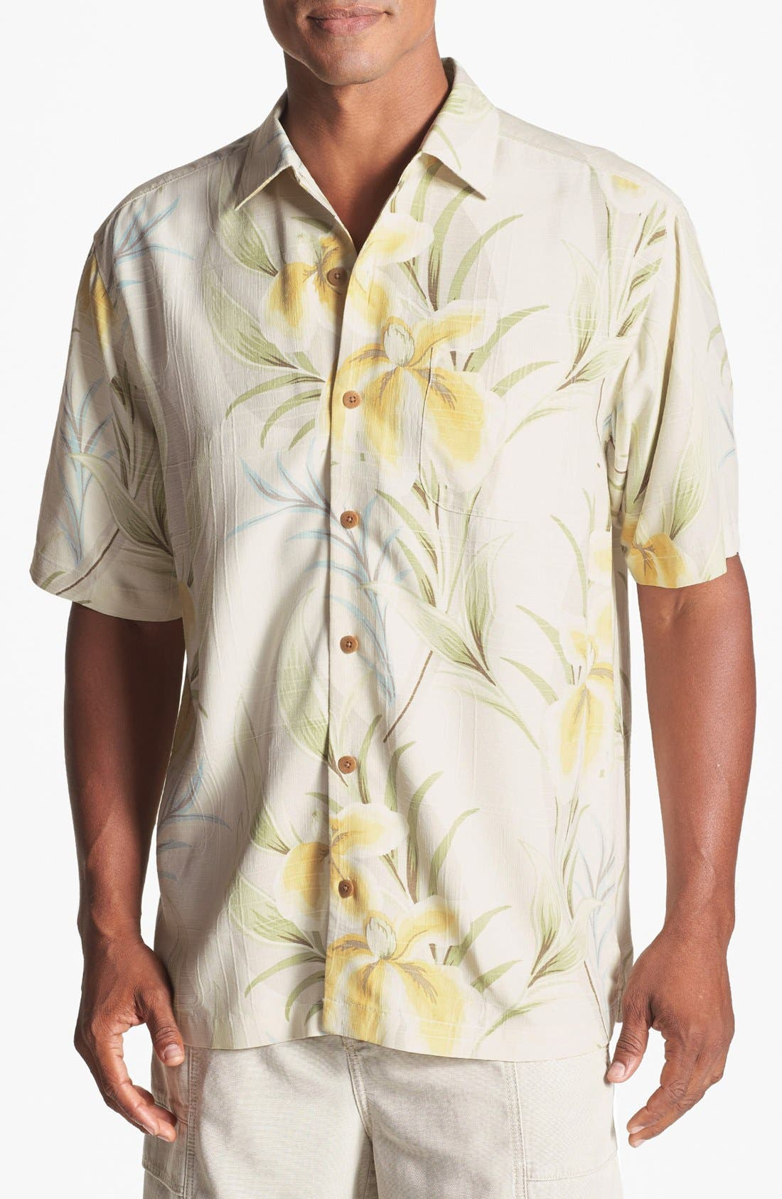 Alternate Image 1 Selected - Tommy Bahama 'Iris You Were Here' Silk Campshirt