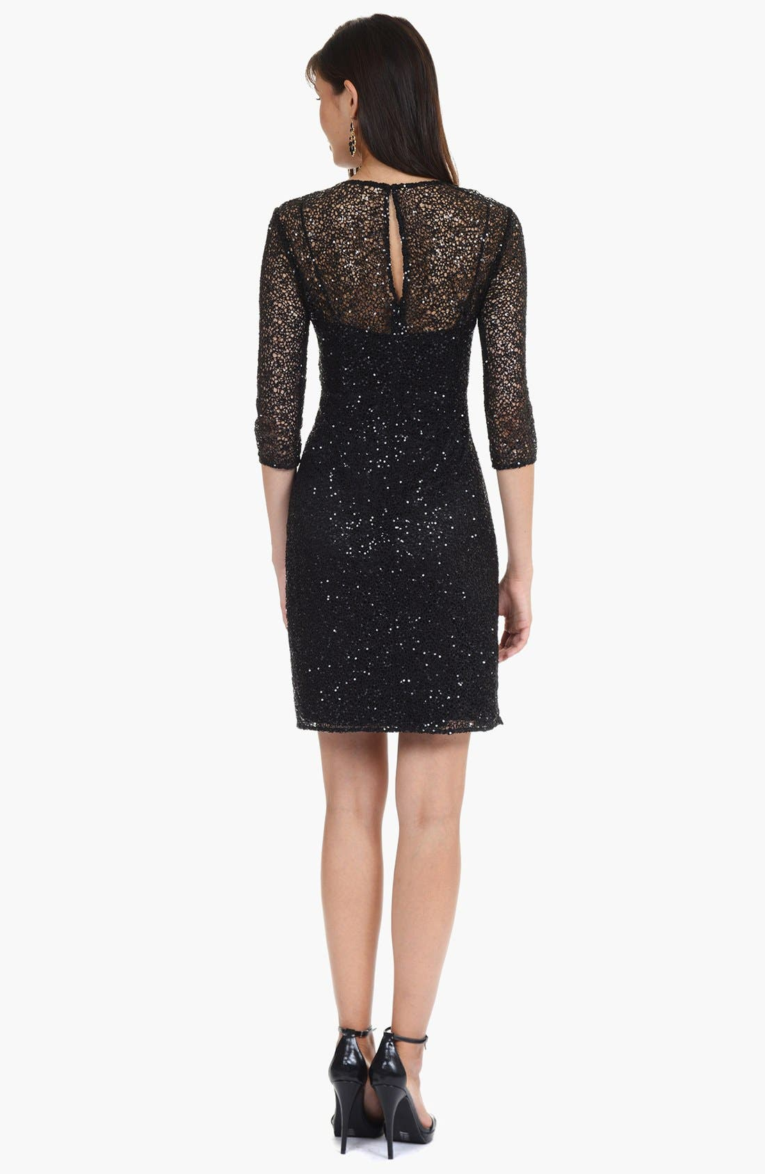 Alternate Image 2  - Kay Unger Ruffled Sequin Lace Dress