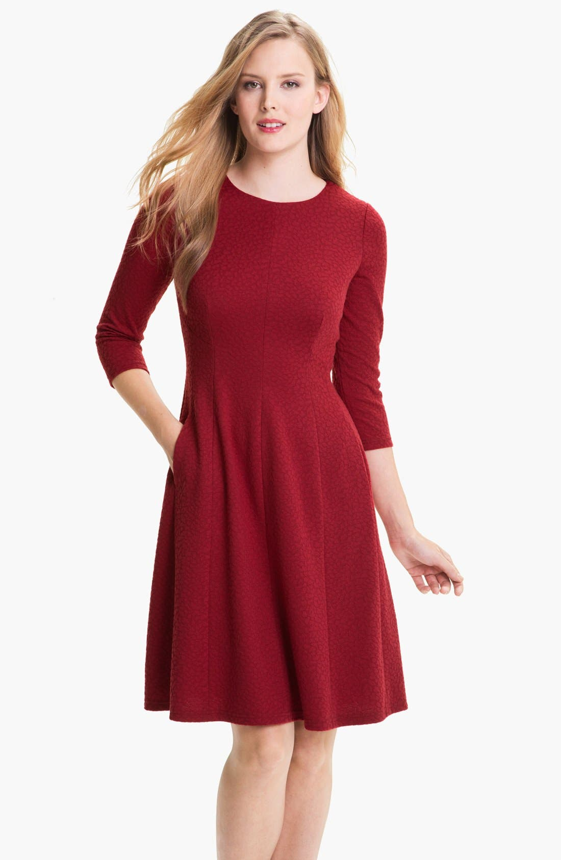 Alternate Image 1 Selected - Adrianna Papell Textured Ponte Fit & Flare Dress (Petite)