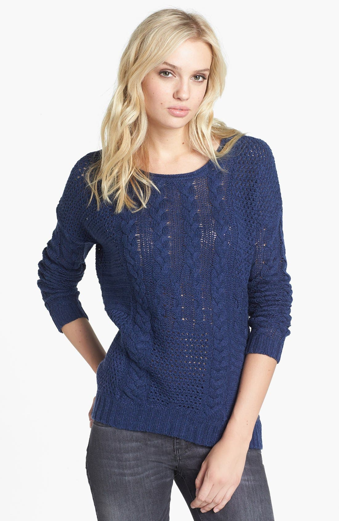 Main Image - Velvet by Graham & Spencer Patchwork Cable Sweater