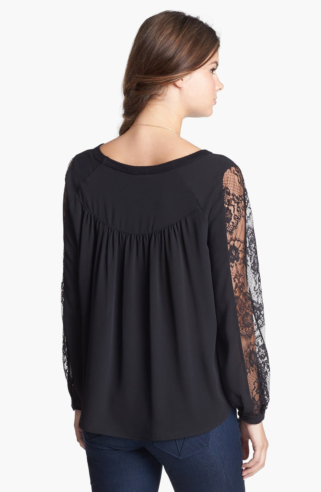 Alternate Image 2  - Elodie Lace Inset Peasant Top (Juniors) (Online Only)