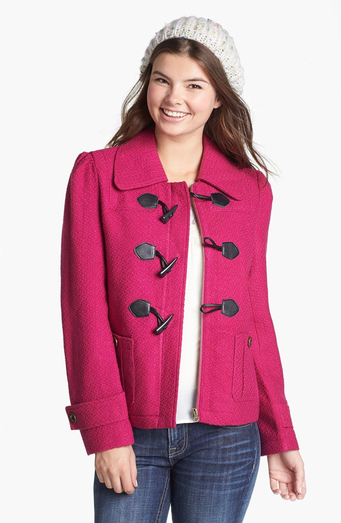 Alternate Image 1 Selected - Tulle Front Toggle Textured Coat (Juniors)