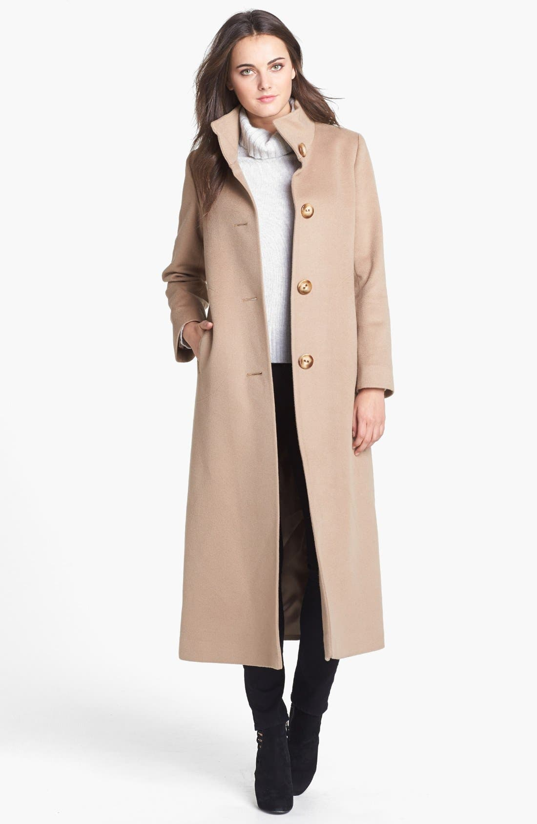 Alternate Image 1 Selected - Fleurette Stand Collar Cashmere Coat