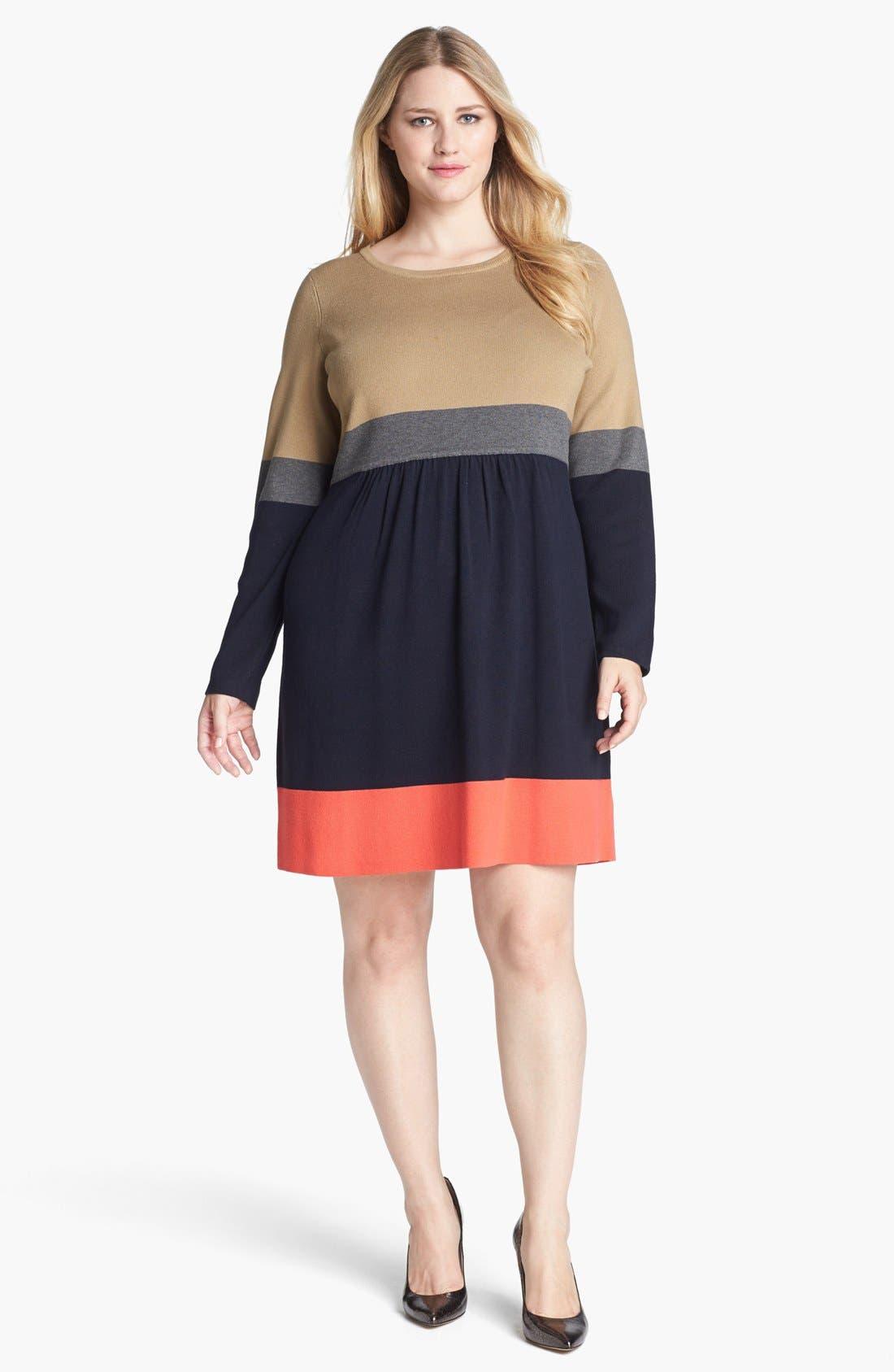 Alternate Image 1 Selected - Eliza J Colorblock Sweater Dress (Plus Size)