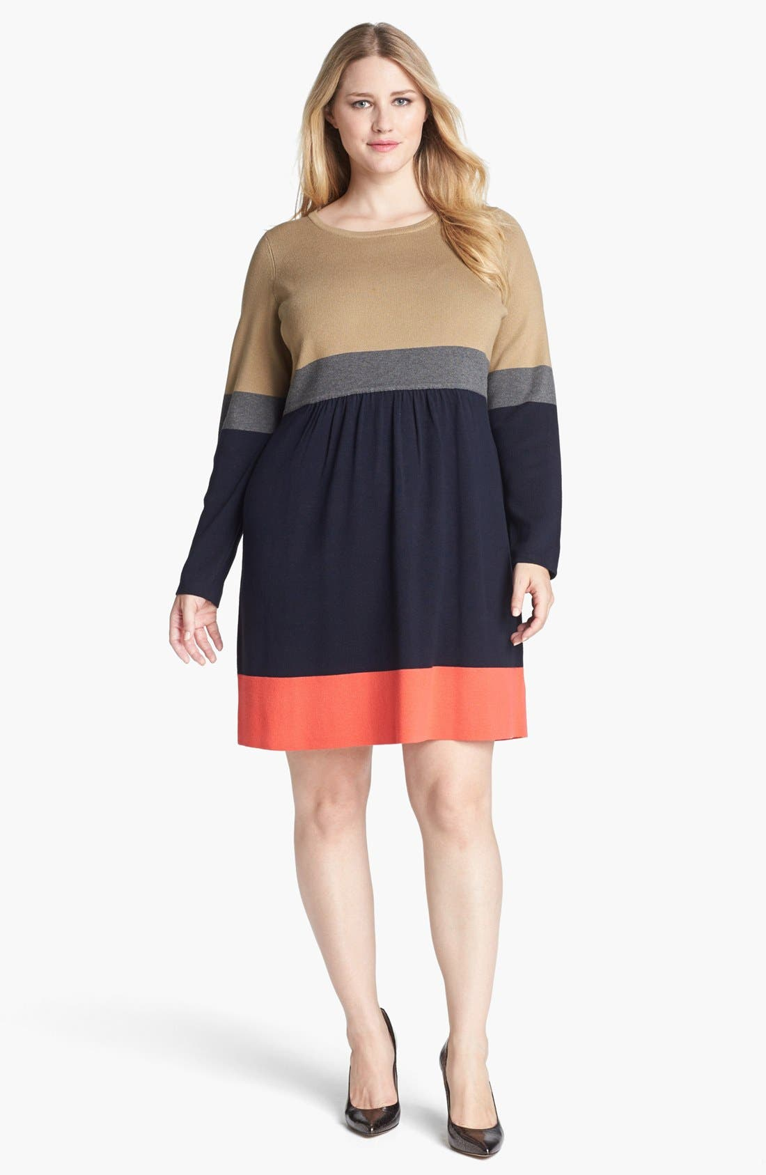 Main Image - Eliza J Colorblock Sweater Dress (Plus Size)