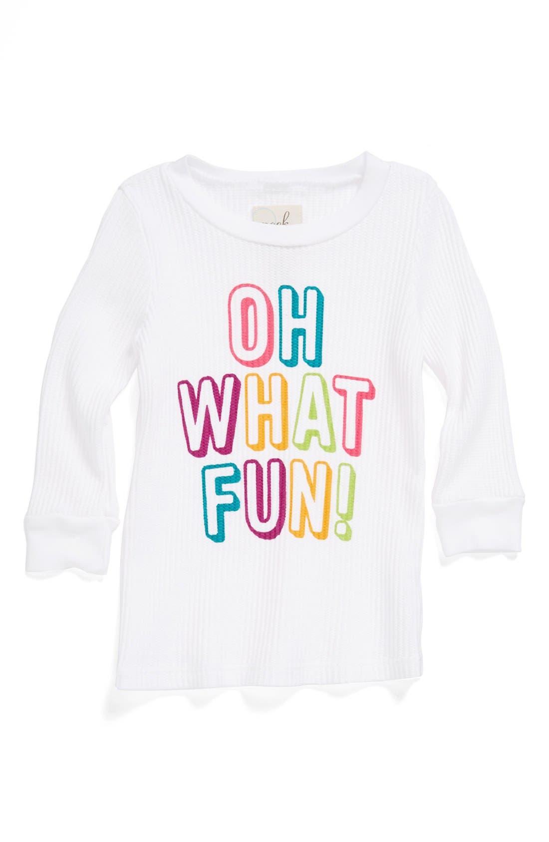 Alternate Image 1 Selected - Peek 'Oh What Fun' Tee (Toddler Girls, Little Girls & Big Girls)