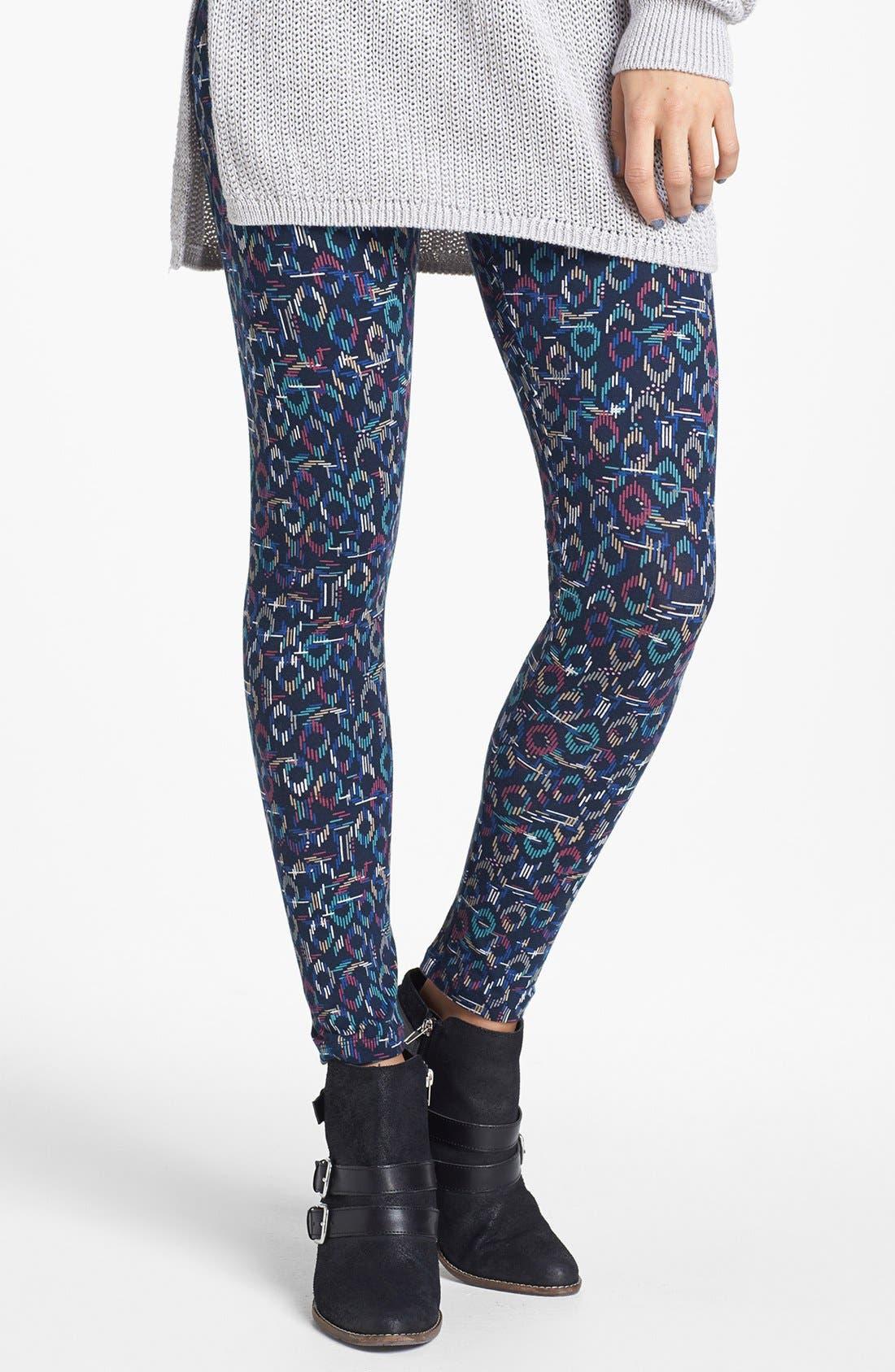 Alternate Image 1 Selected - Mimi Chica Print Leggings (Juniors)