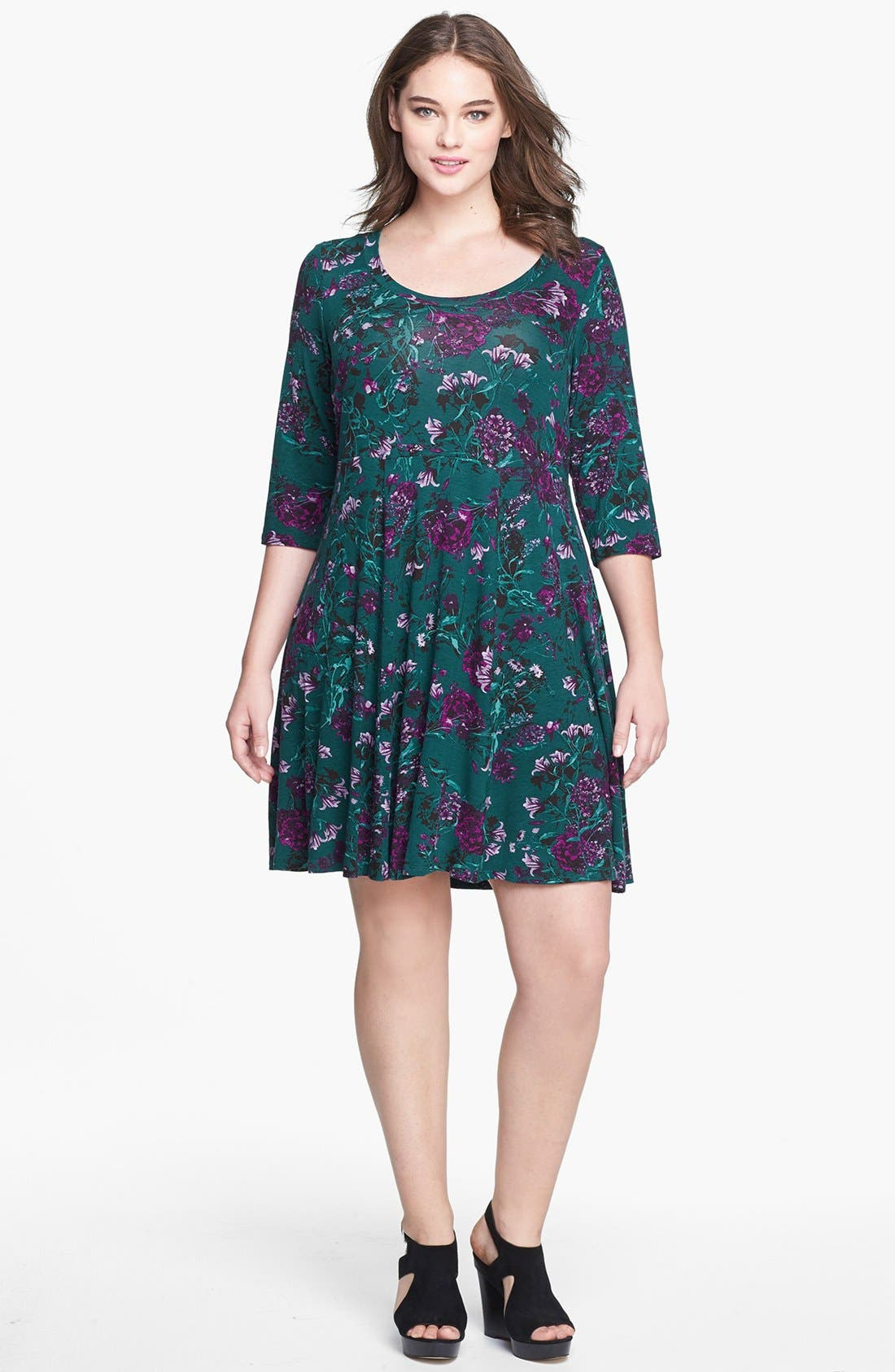 Alternate Image 1 Selected - Evans Floral Print Skater Dress (Plus Size)