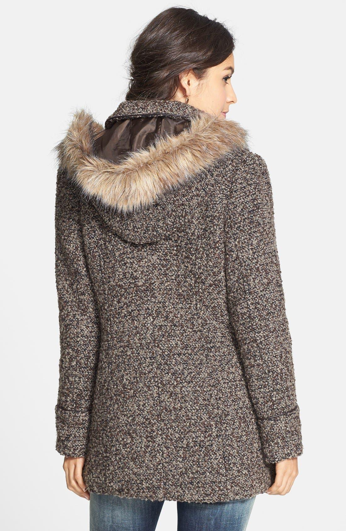 Alternate Image 2  - Coffee Shop Faux Fur Trim Bouclé Toggle Coat (Juniors) (Online Only)