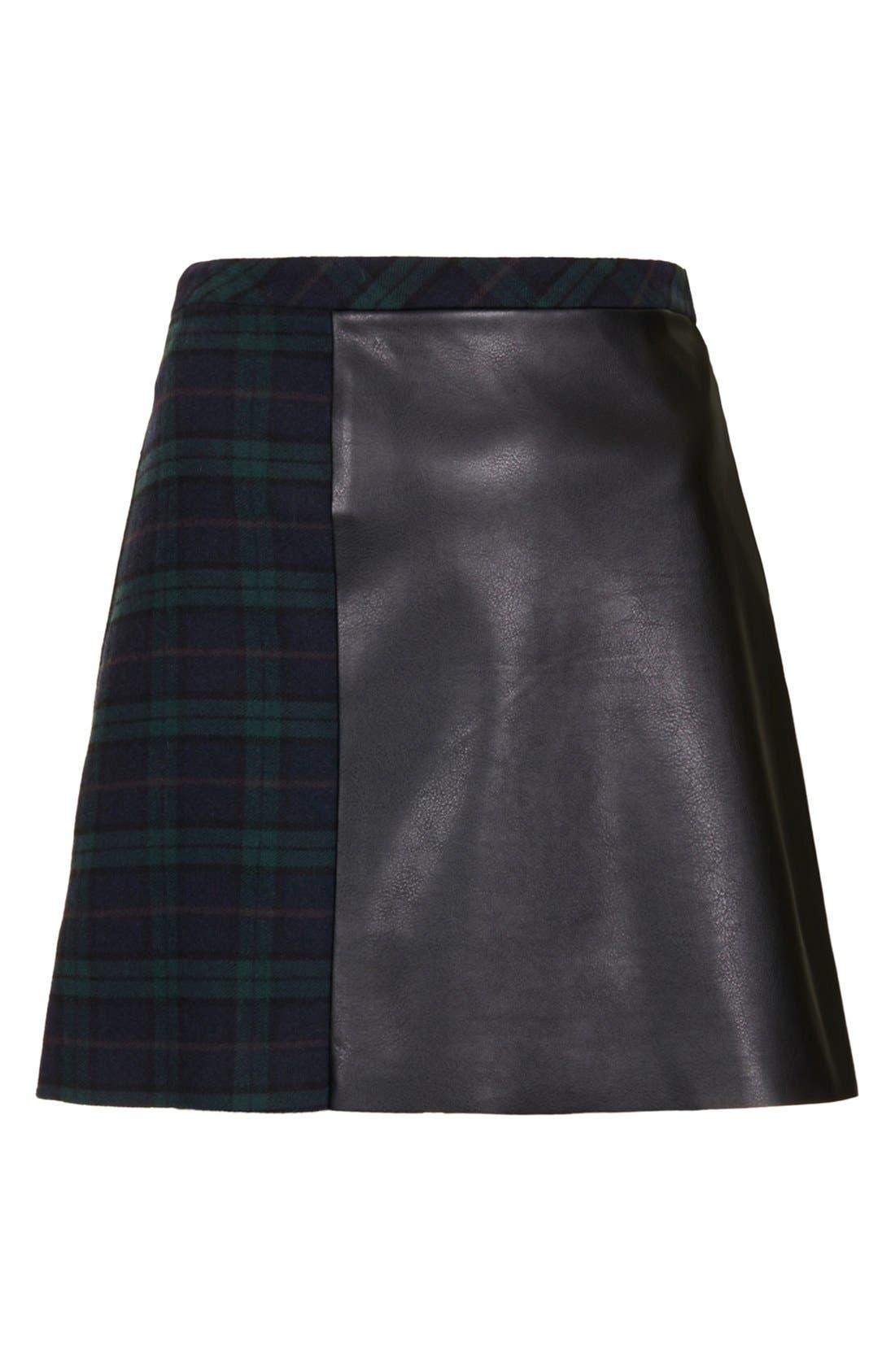 Alternate Image 3  - Topshop Mixed Media A-Line Skirt
