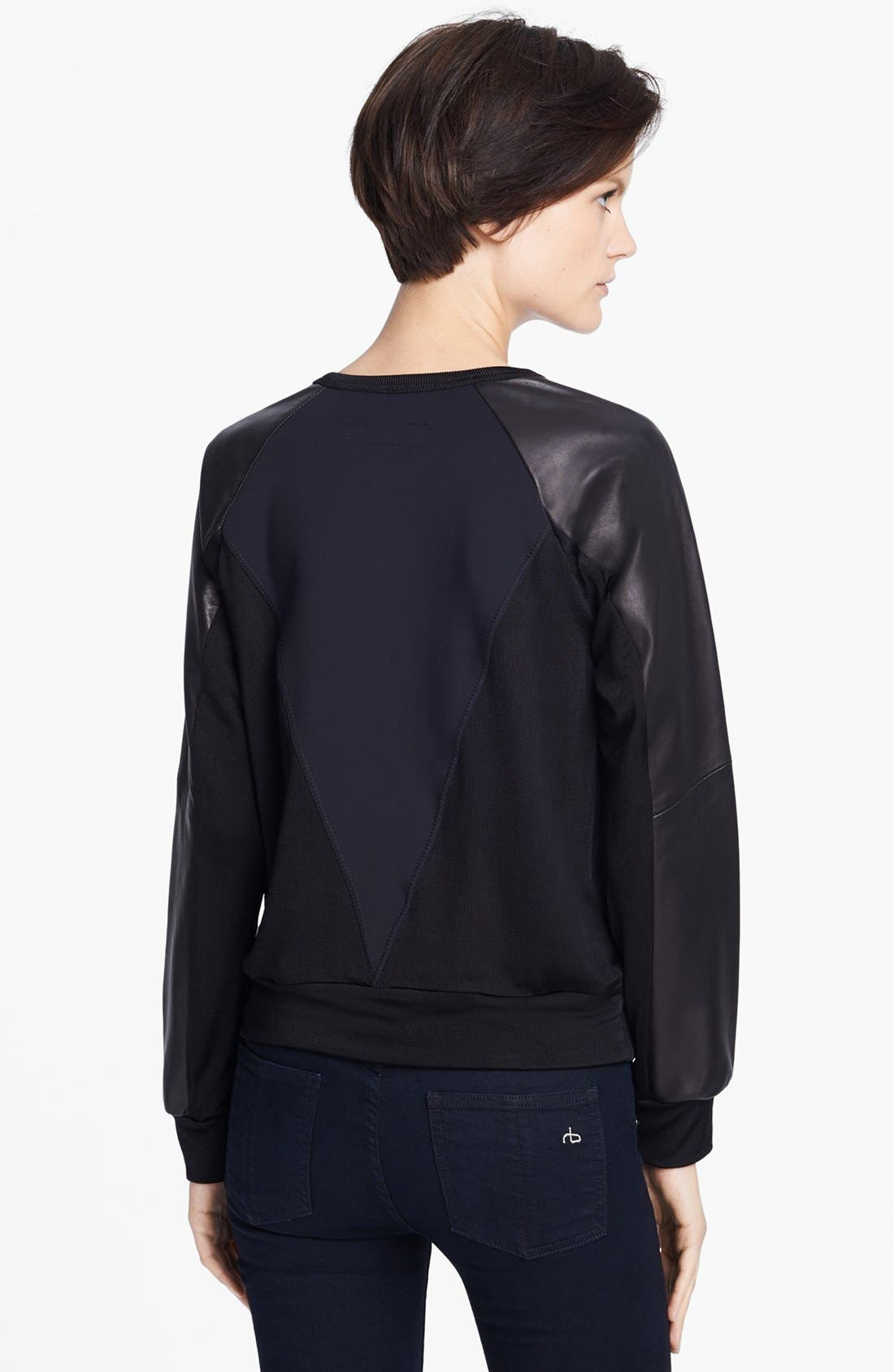 Alternate Image 2  - rag & bone 'Kent' Leather Sleeve Sweatshirt