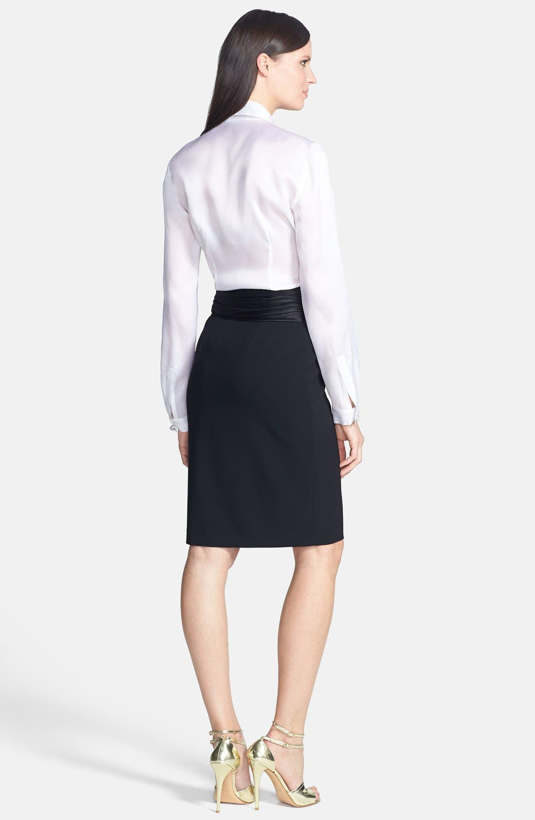 Alternate Image 3  - St. John Collection Crepe Marocain Pencil Skirt with Liquid Satin Bow
