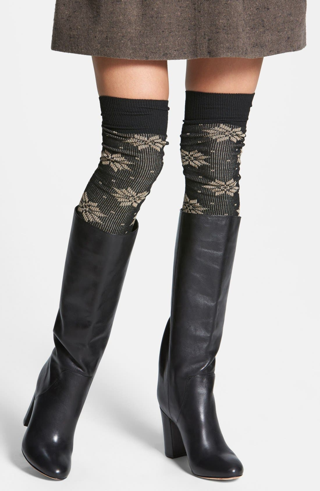 Alternate Image 1 Selected - Free People Snowflake Ribbed Thigh High Socks