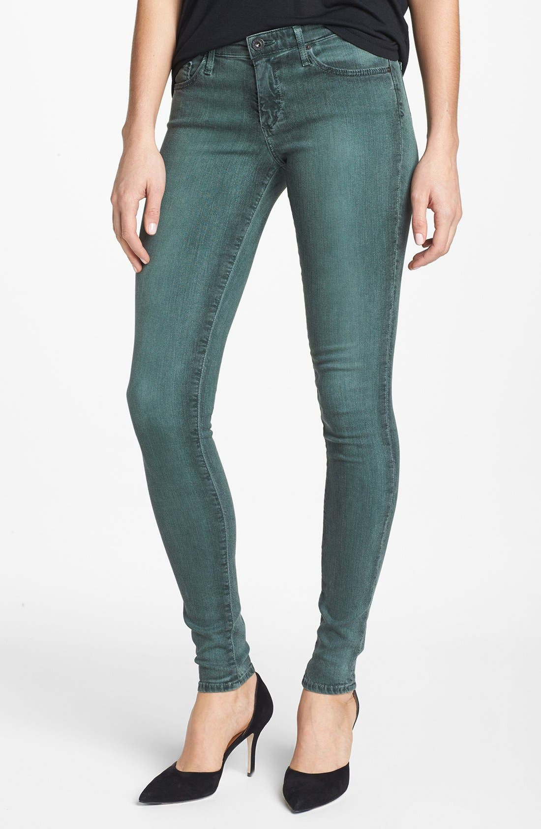 Alternate Image 1 Selected - AG 'The Absolute Legging' Skinny Jeans (Storm Winter Green)