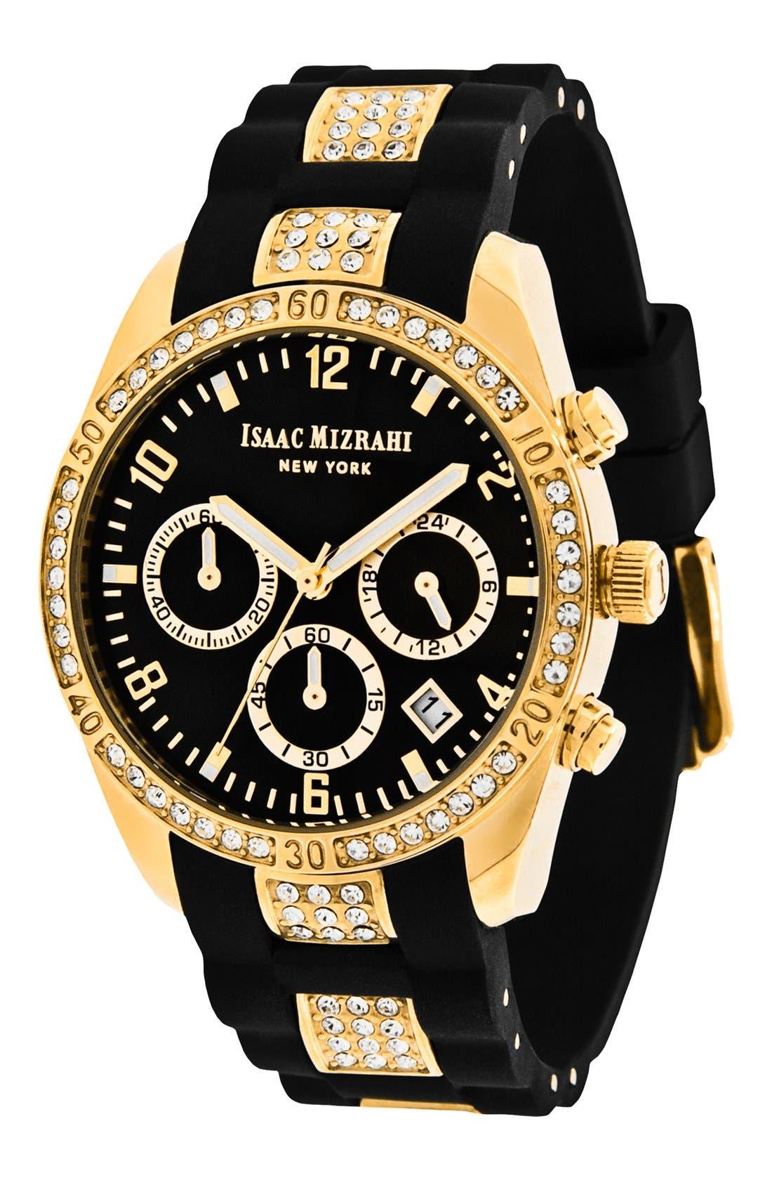 Main Image - Isaac Mizrahi New York Crystal Accent Chronograph Watch, 38mm