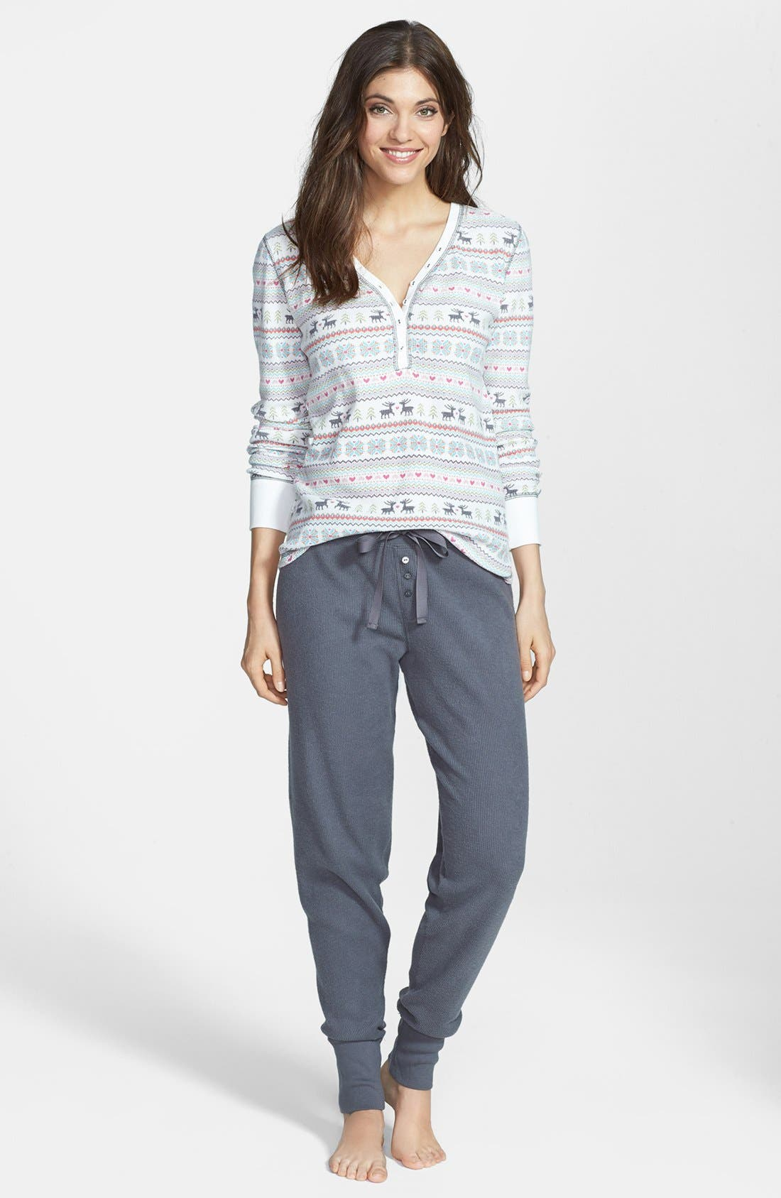 Alternate Image 1 Selected - PJ Salvage Fair Isle Thermal Pajamas